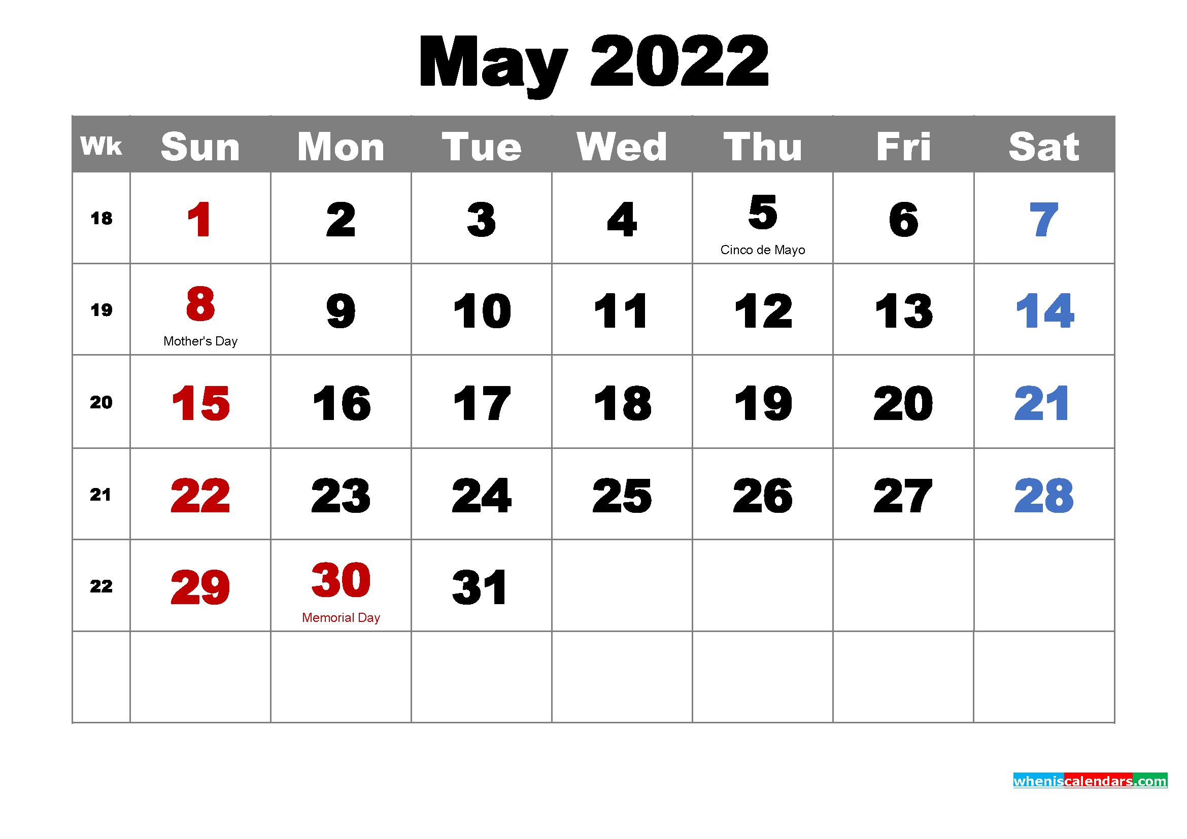 Free May 2022 Desktop Calendar High Resolution - Free ...