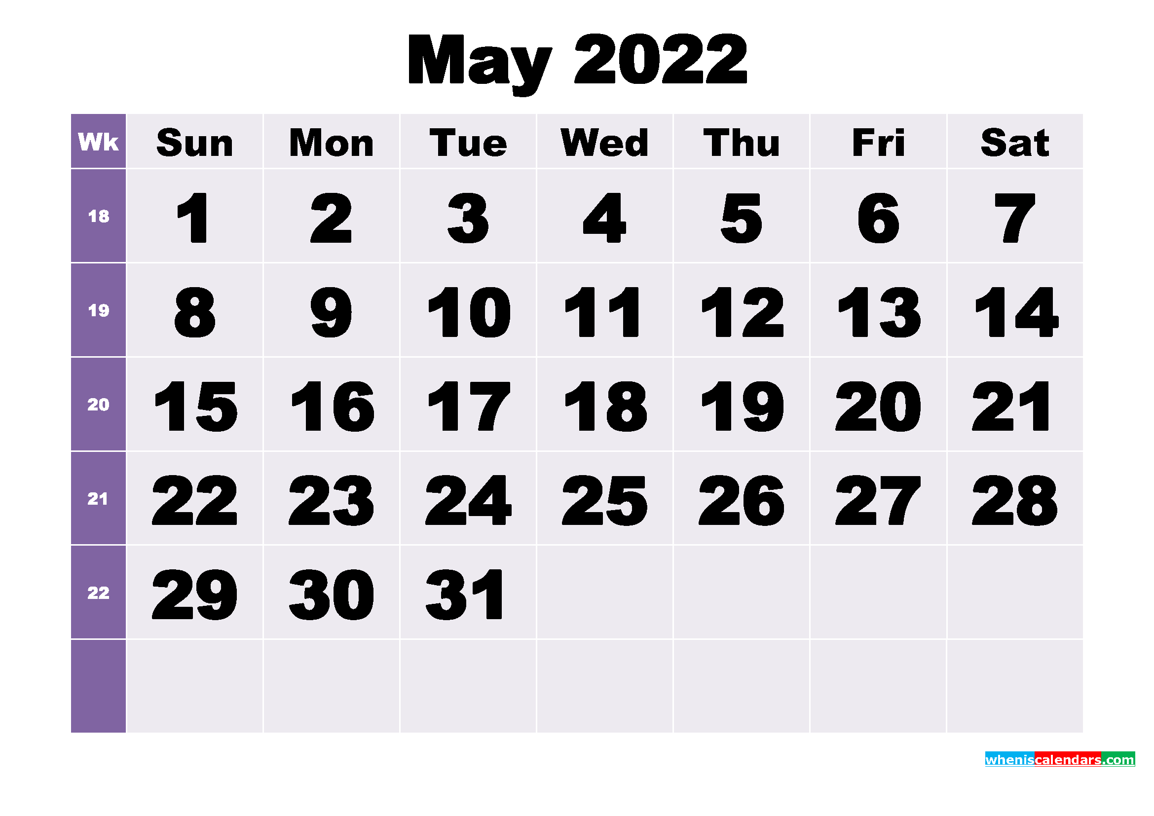 If you're in need of a 2021 calendar, you can find the 2021 floral printable calendar here. Free May 2022 Printable Monthly Calendar Template
