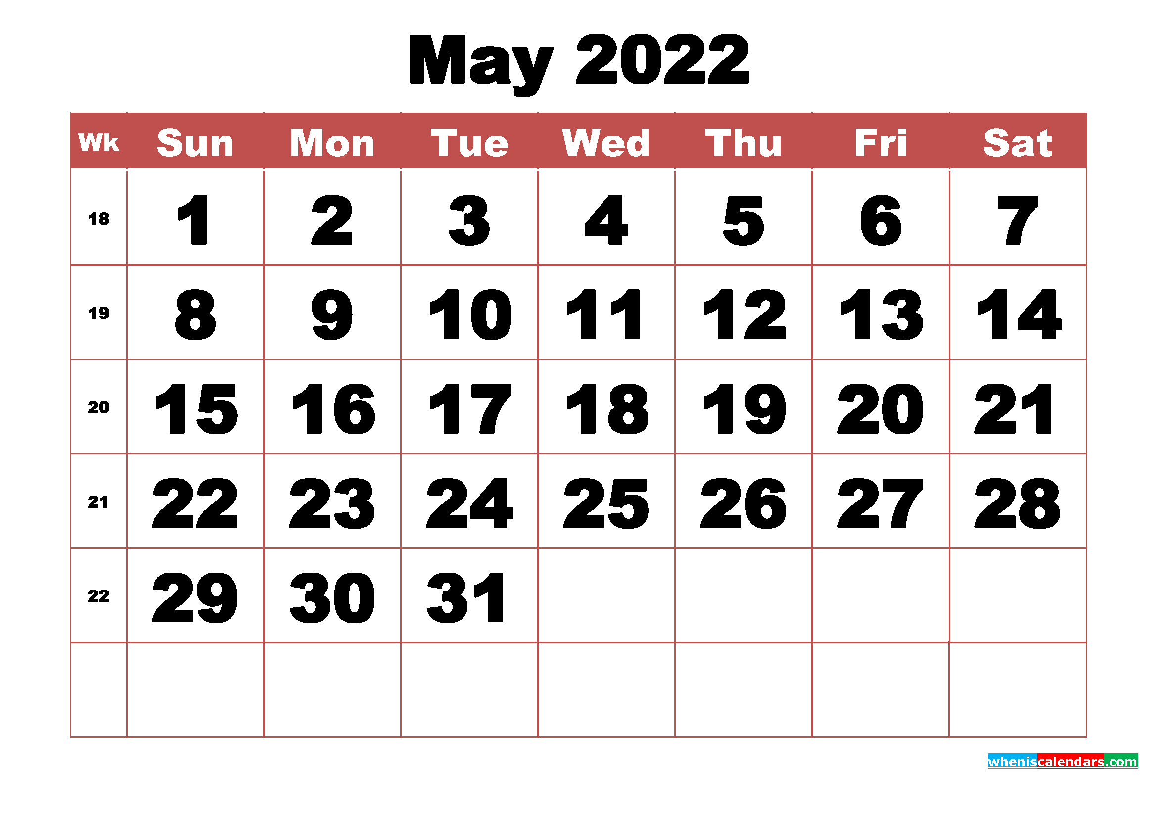 It is useful for quick referencing on dates, write down quick notes founder of lifehack read full profile sometimes it is handy to have a calendar for you. Free Printable May 2022 Calendar with Week Numbers - Free ...
