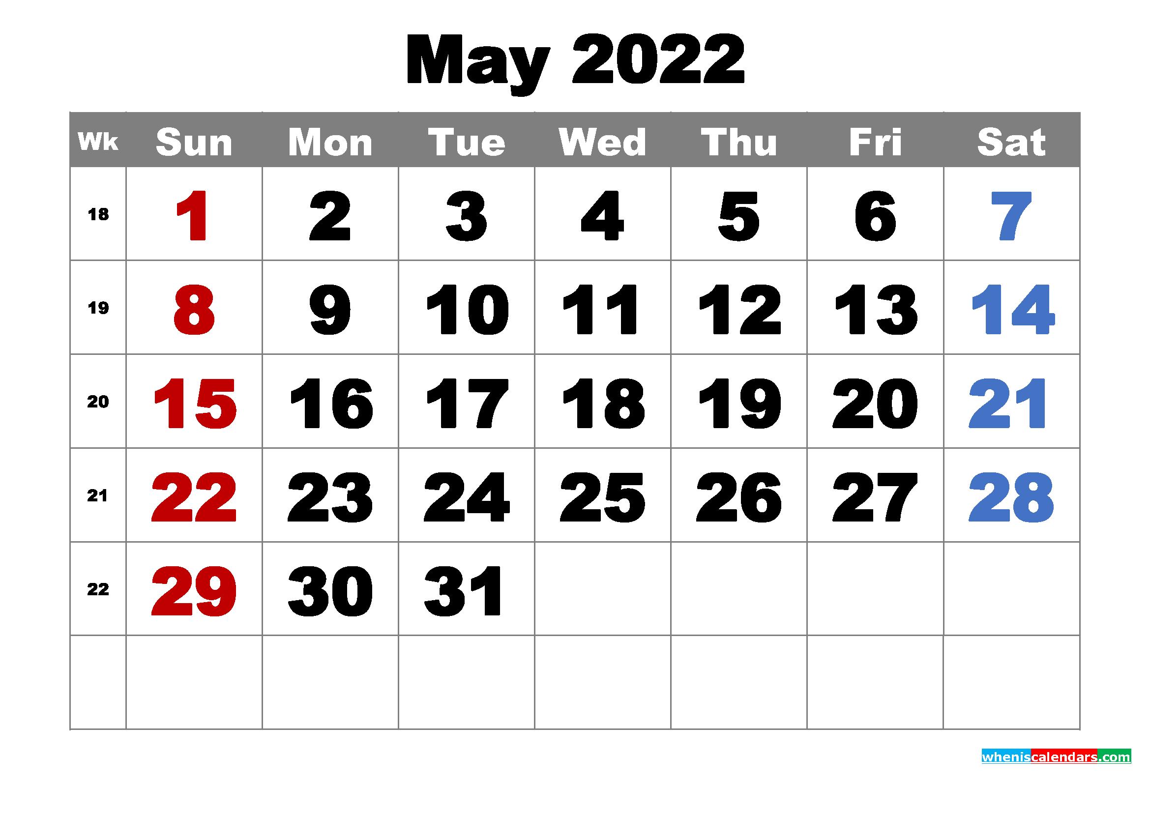 Free Printable May 2022 Calendar Word, PDF, Image