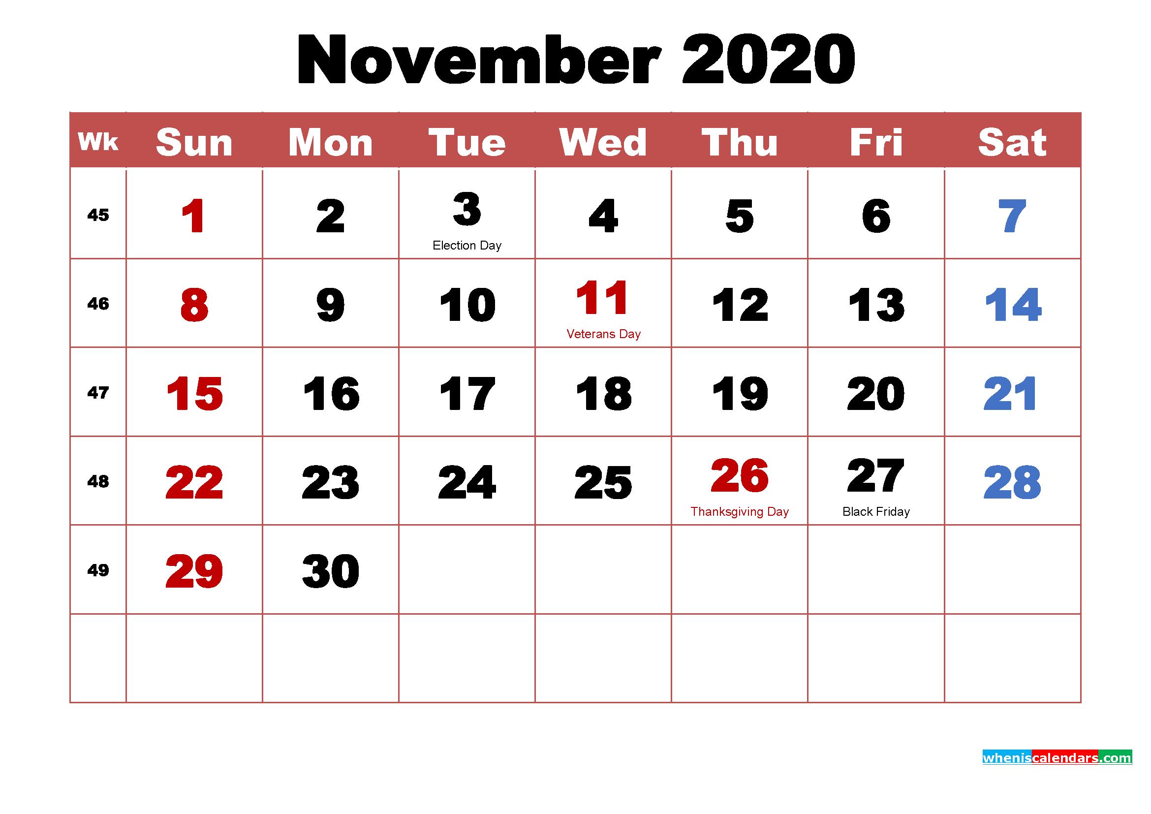 Printable November 2020 Calendar with Holidays Word, PDF
