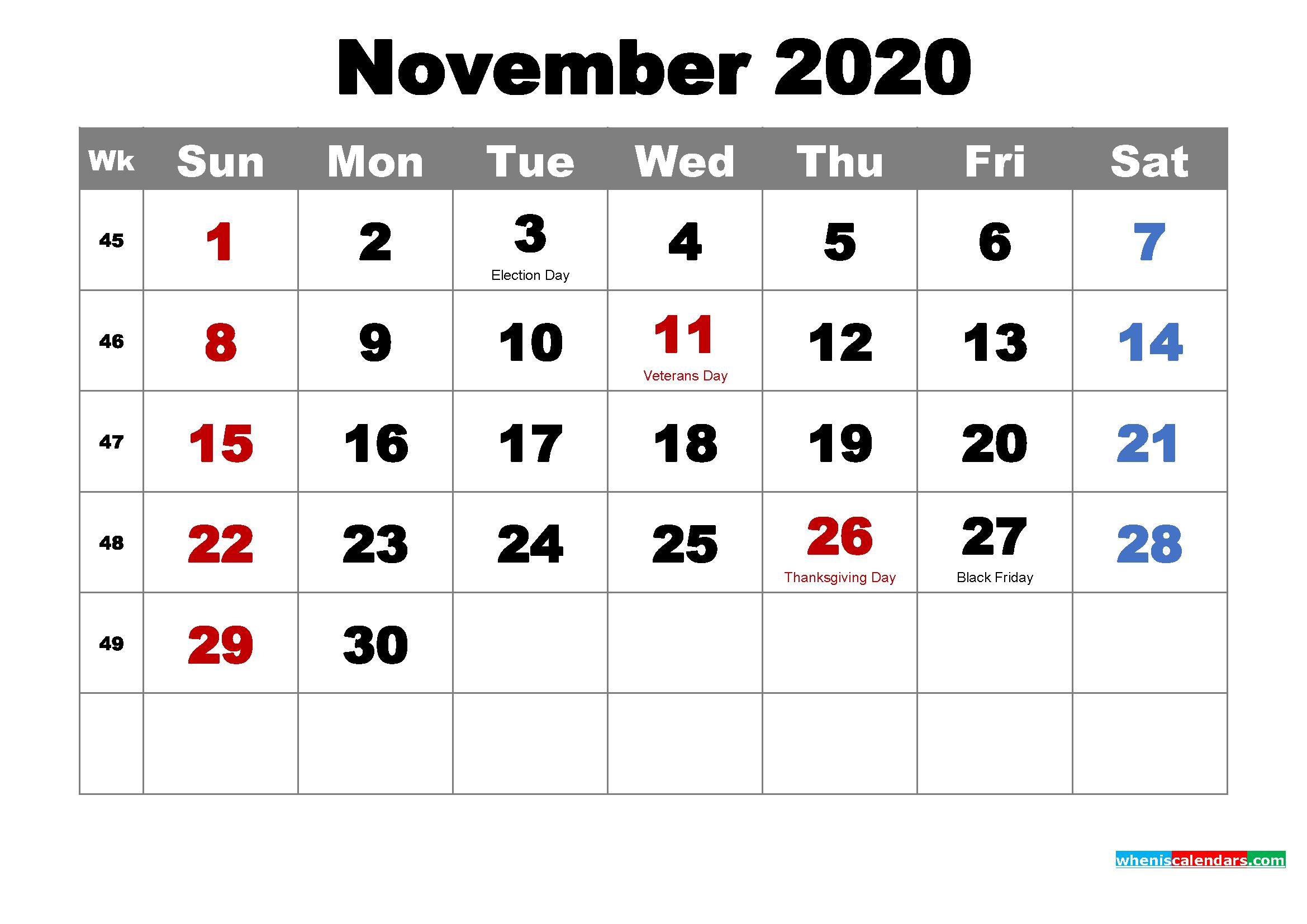Free Printable November 2020 Calendar Wallpaper - 2021 ...