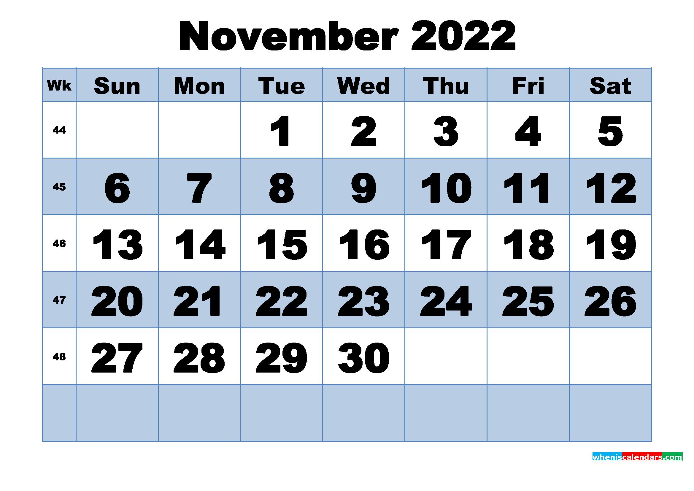 Free Printable November 2022 Calendar with Week Numbers ...