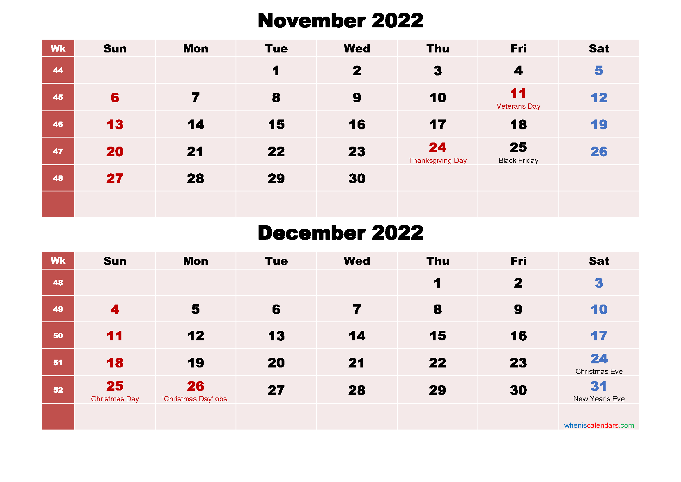 Printable Calendar November and December 2022 Word, PDF ...