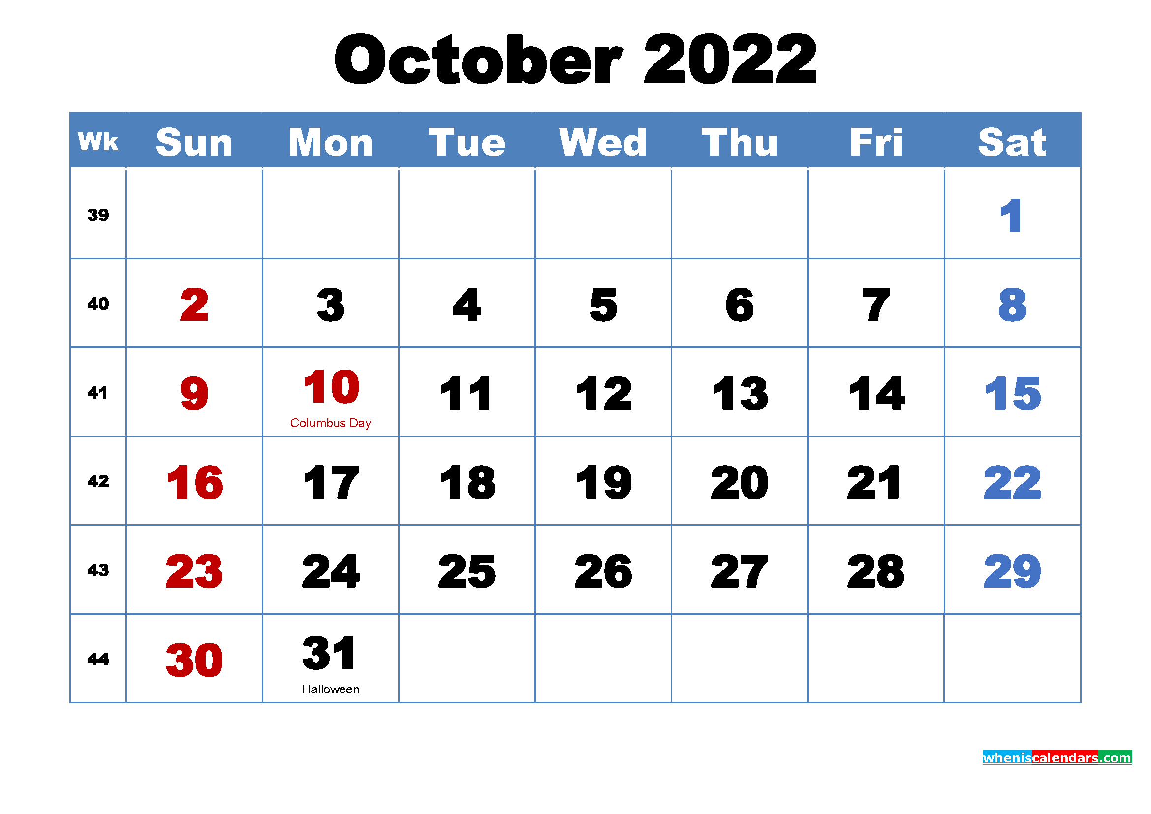 Free Printable October 2022 Calendar with Holidays | Free ...