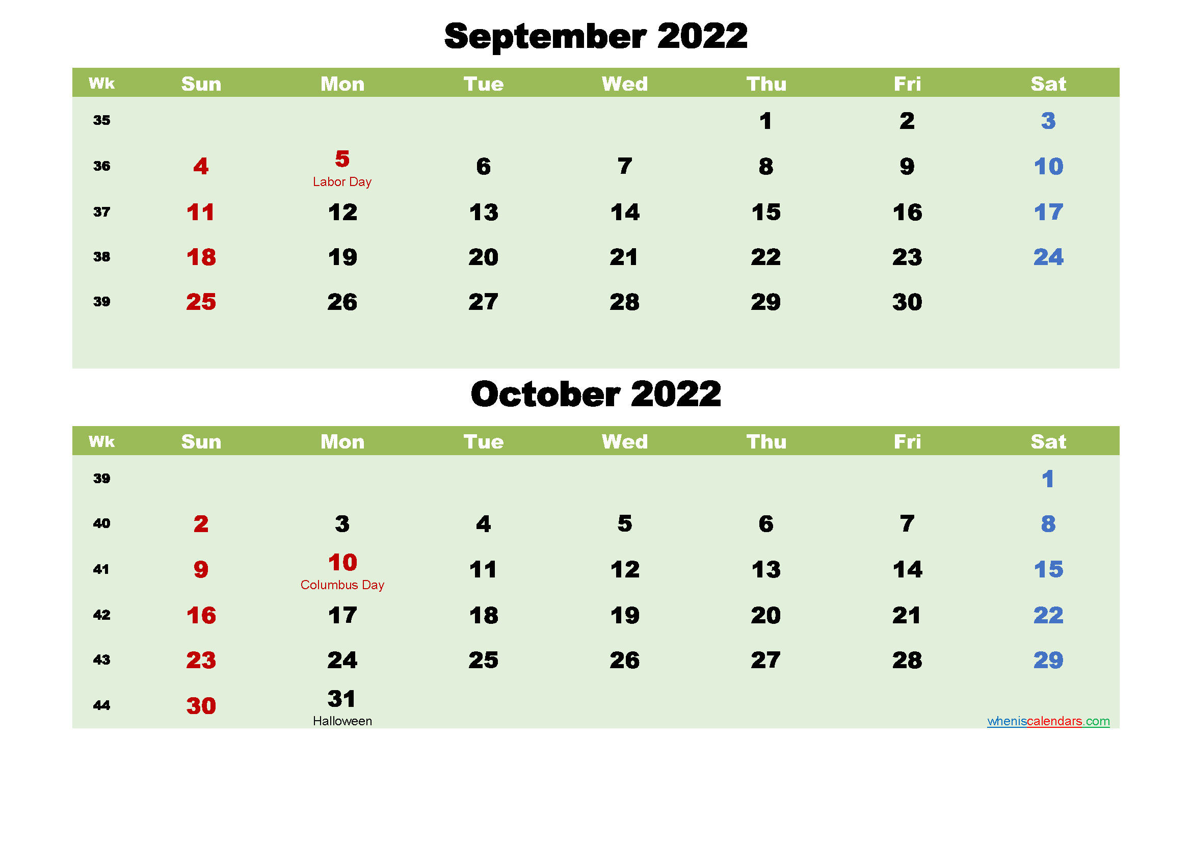 September and October 2022 Calendar with Holidays - Free ...