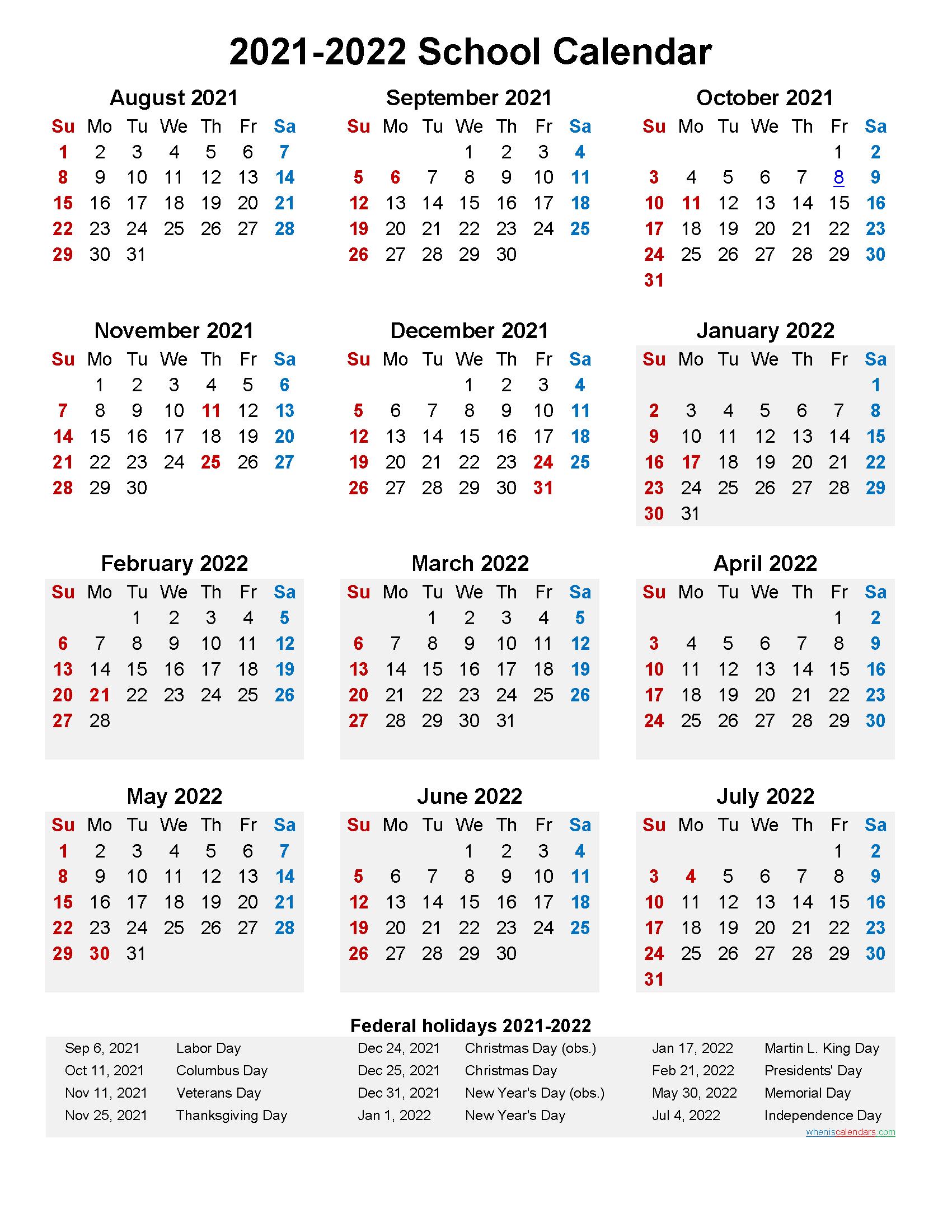 Santarosacounty Calendar 2021 2022   Calendar Page