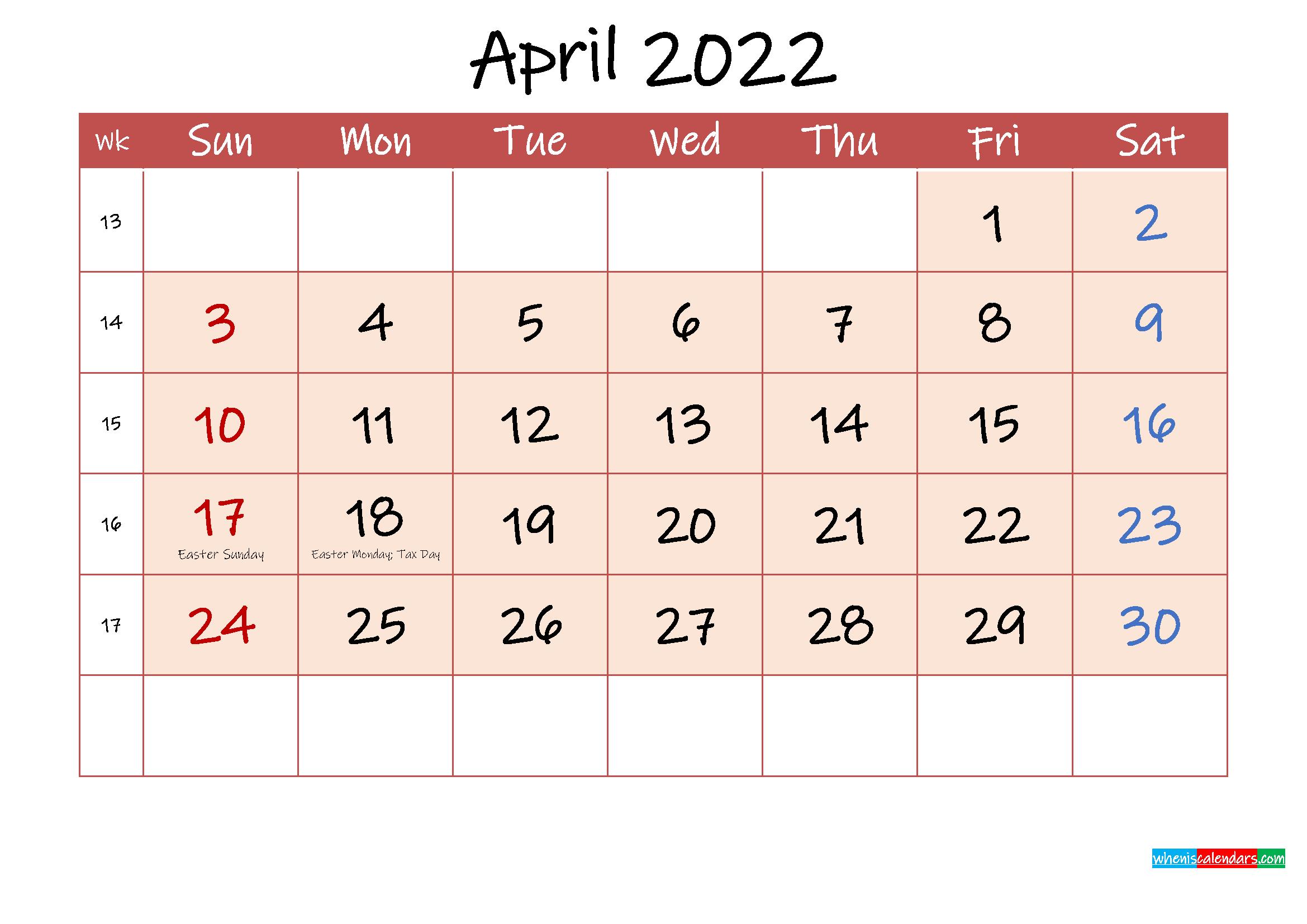 April 2022 Free Printable Calendar with Holidays ...