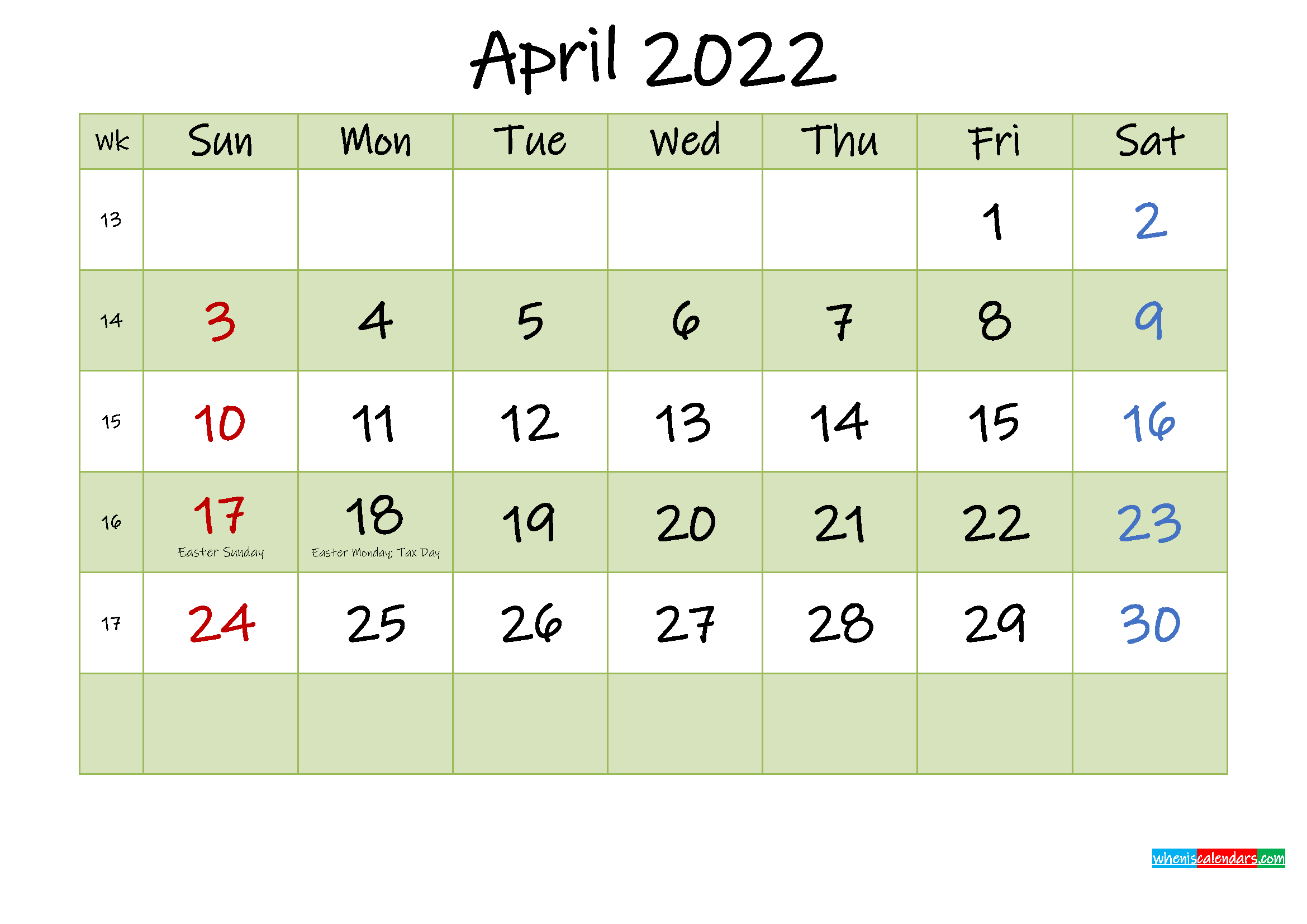These monthly calendar templates are available in four editable designs with both landscape and portrait options. April 2022 Calendar with Holidays Printable - Template No ...
