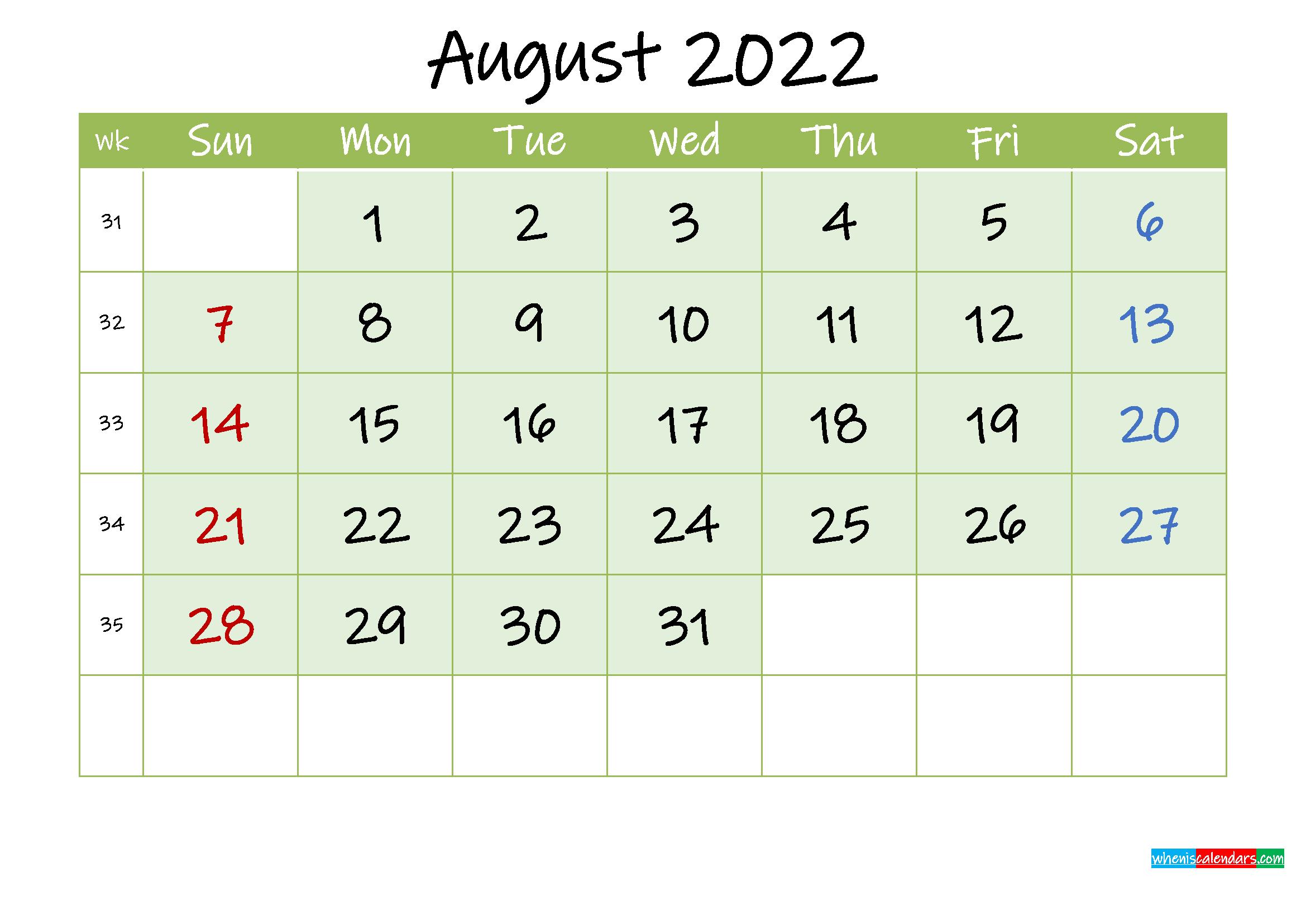August 2022 Free Printable Calendar - Template ink22m128
