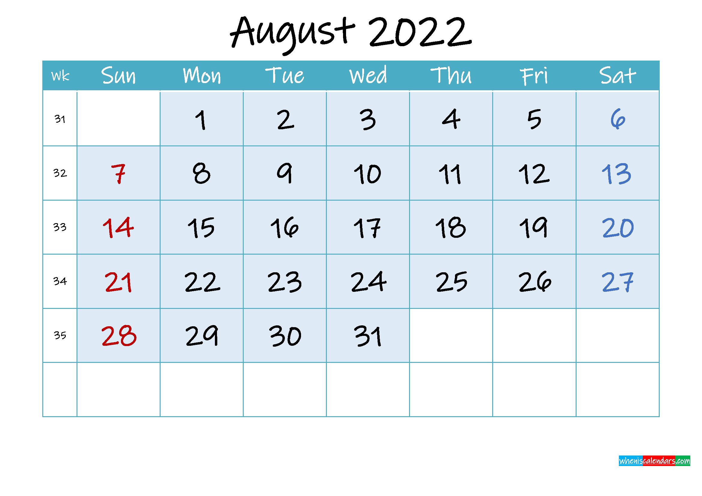August 2022 Free Printable Calendar with Holidays ...
