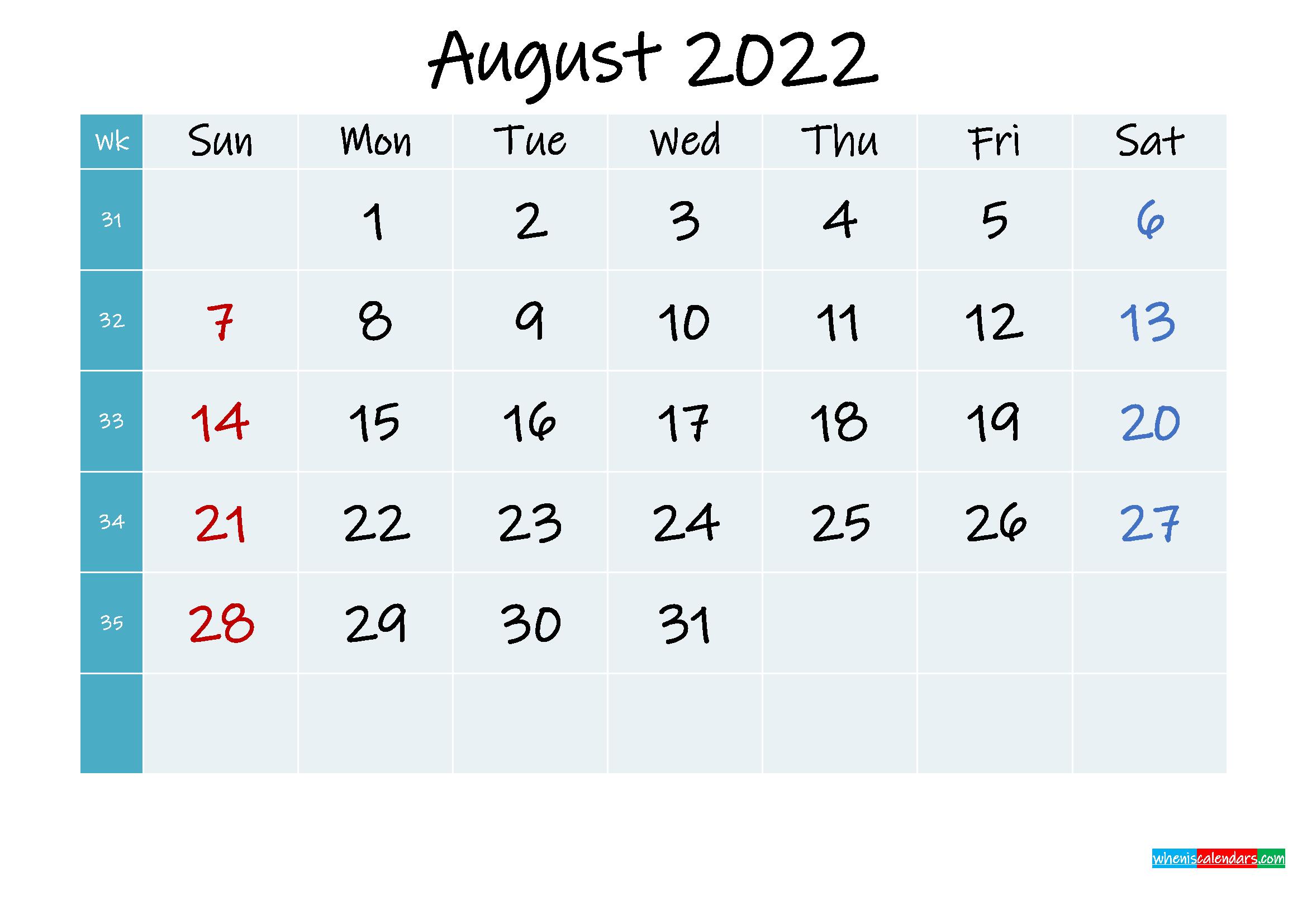 Printable Calendar August 2022 - Template No.ink22m320