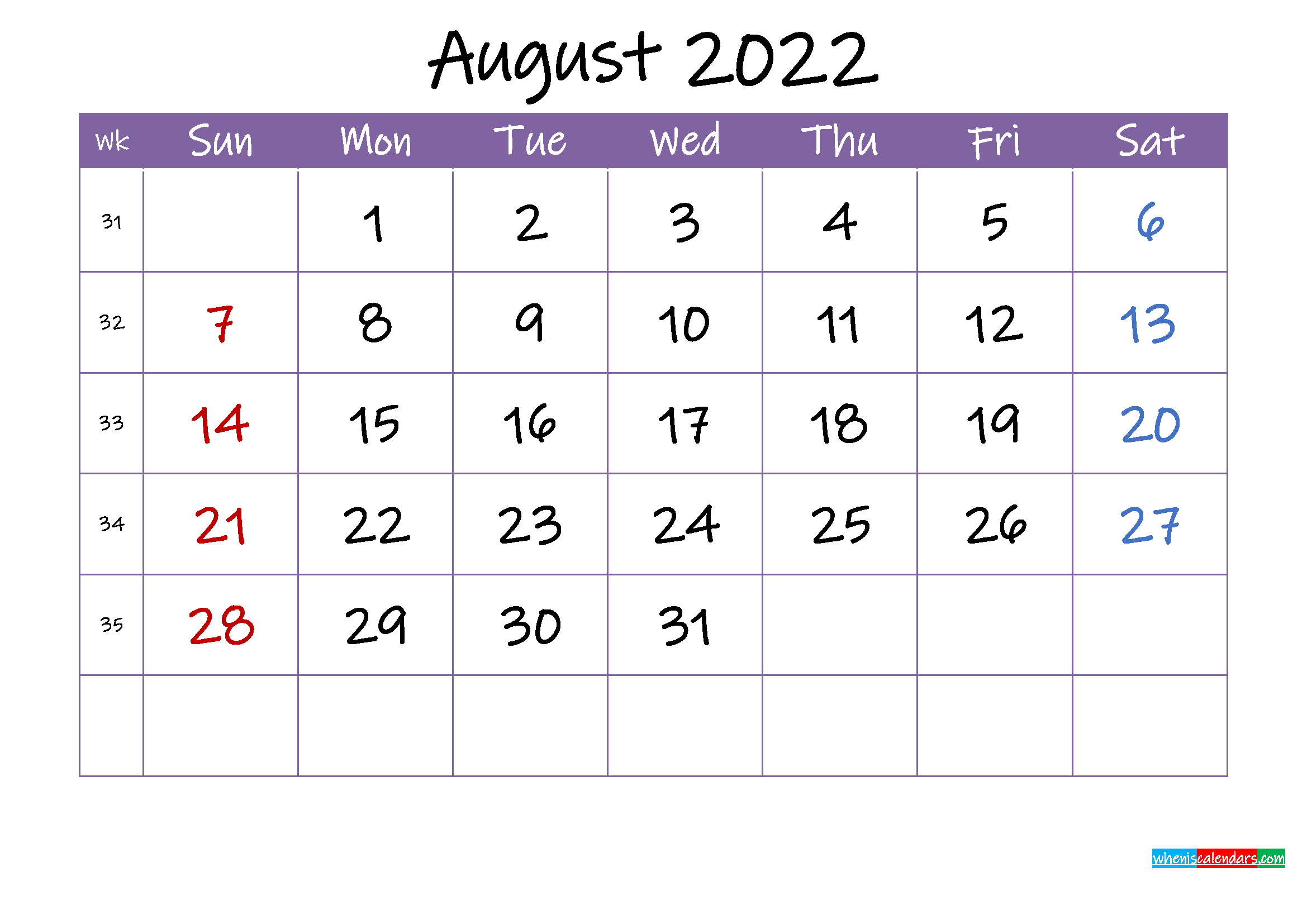 August 2022 Calendar with Holidays Printable - Template ...