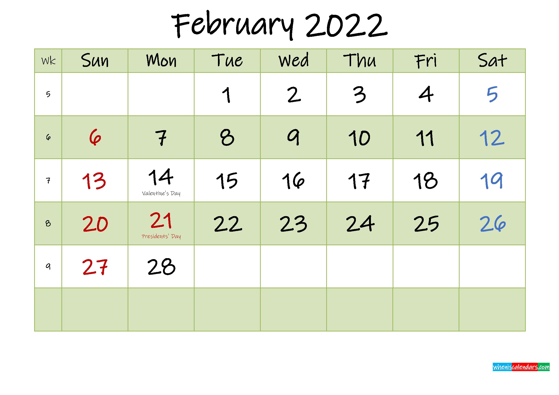 February 2022 Calendar with Holidays Printable - Template ...