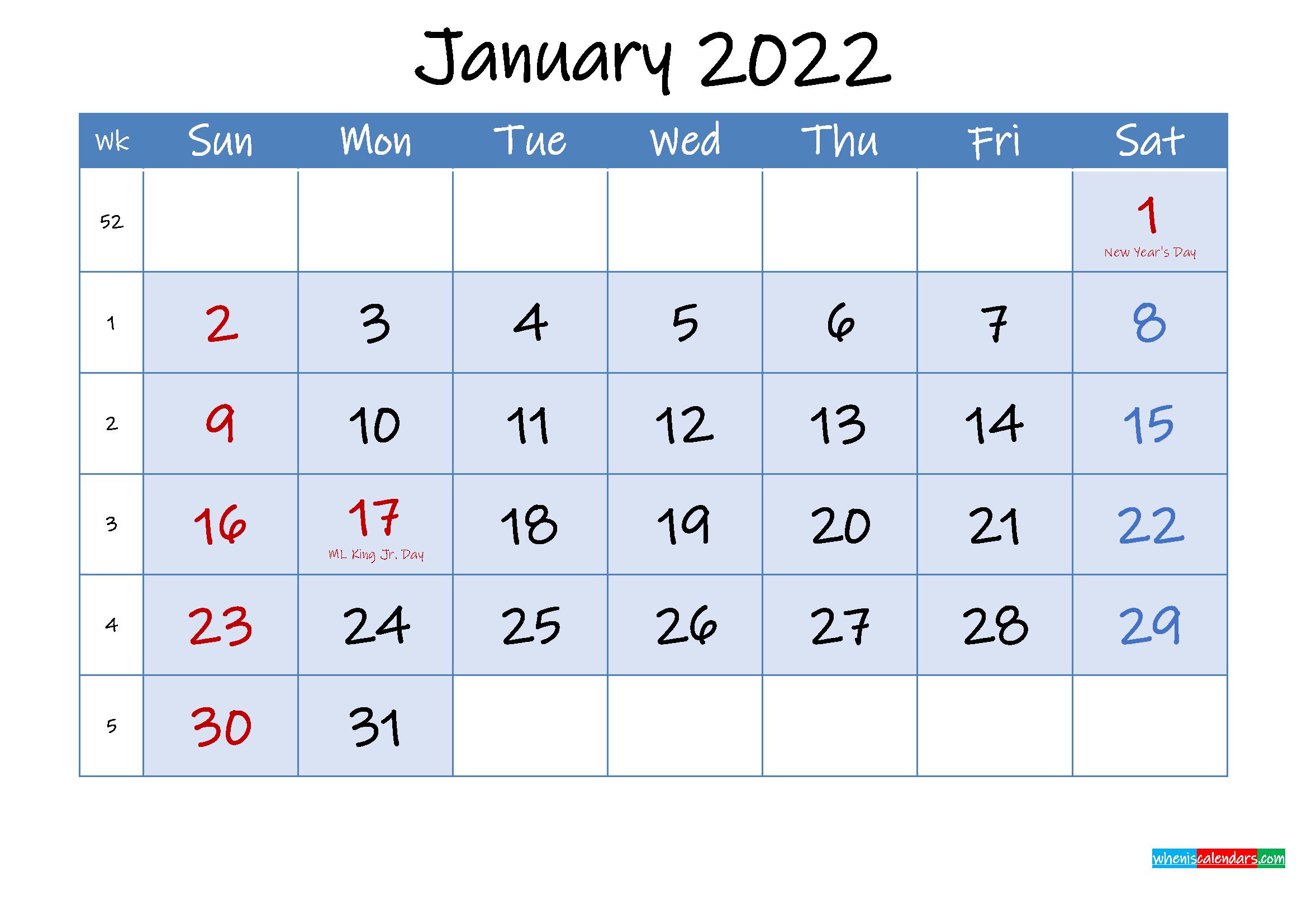 Free Printable January 2022 Calendar - Template ink22m97 ...
