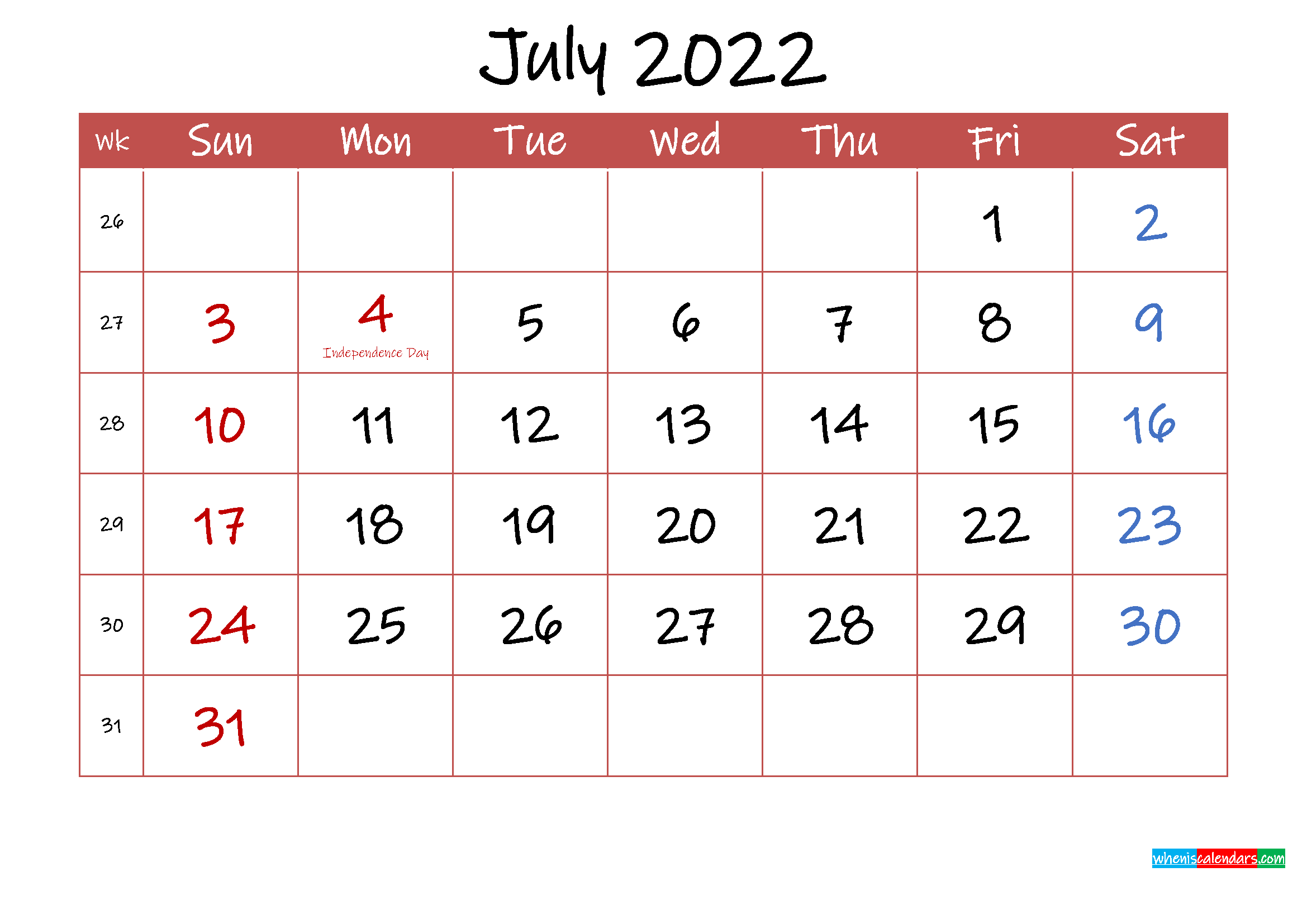 Printable July 2022 Calendar with Holidays - Template ink22m31