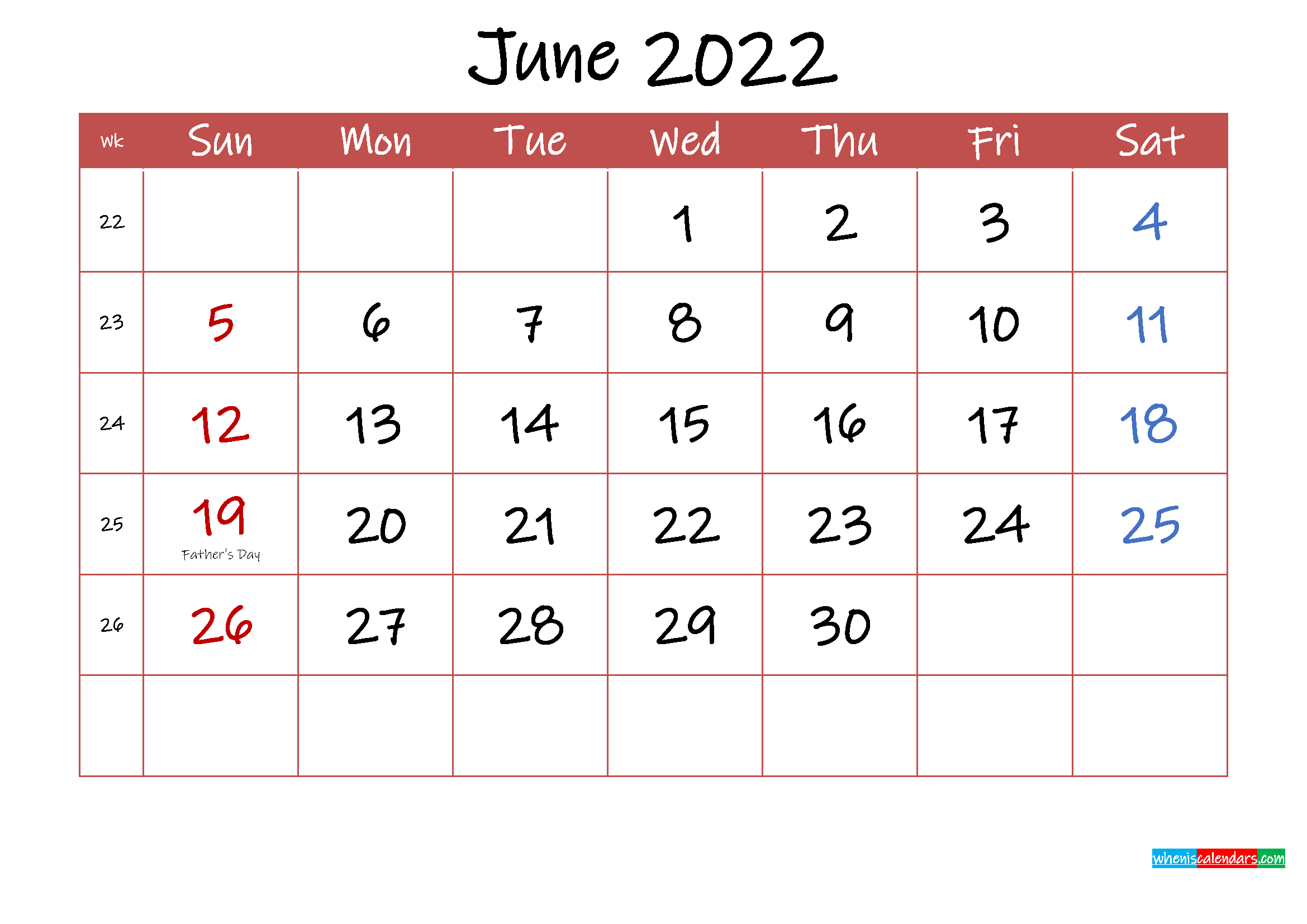 Printable June 2022 Calendar with Holidays - Template ink22m30