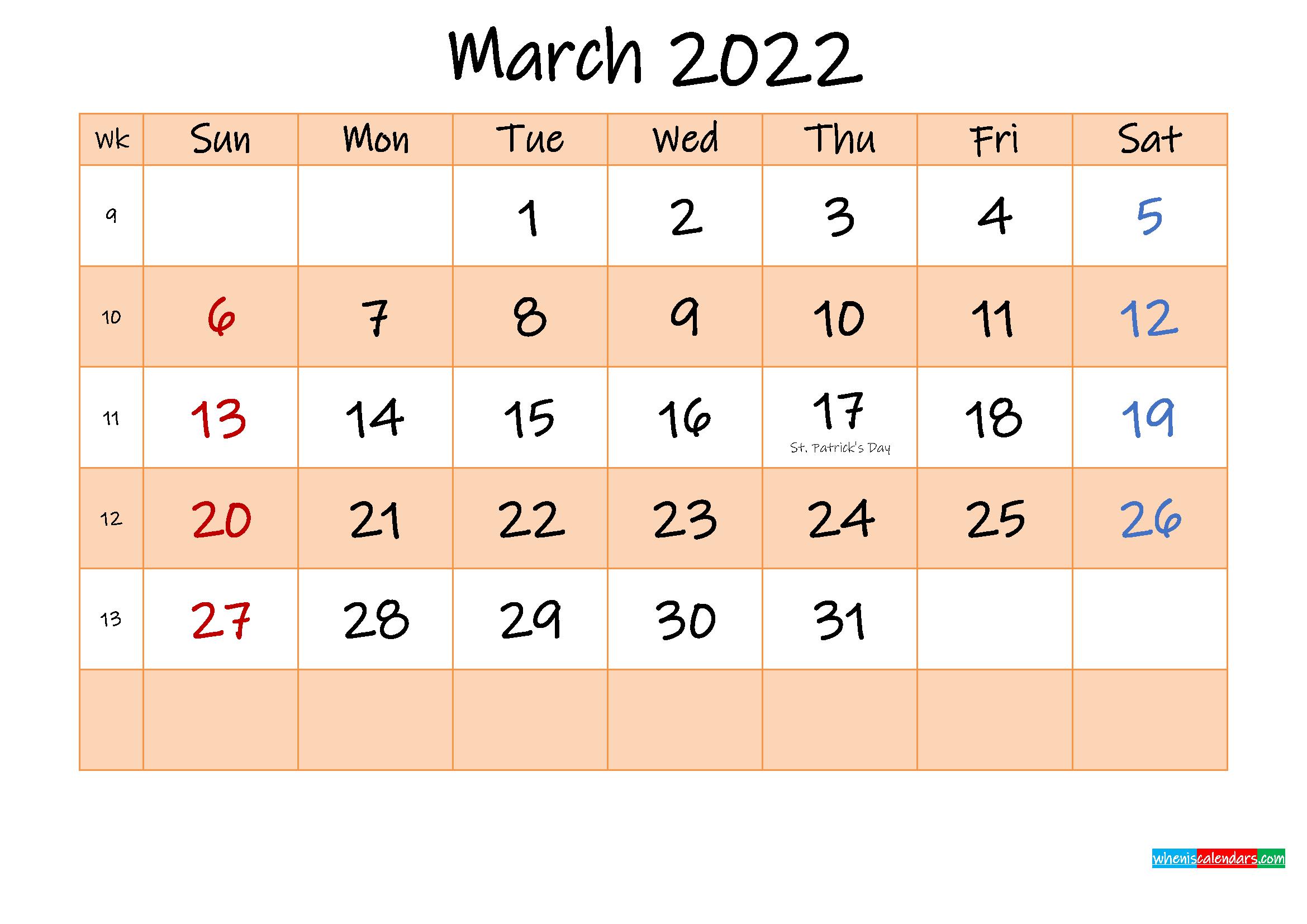 Editable March 2022 Calendar - Template No.ink22m483 ...