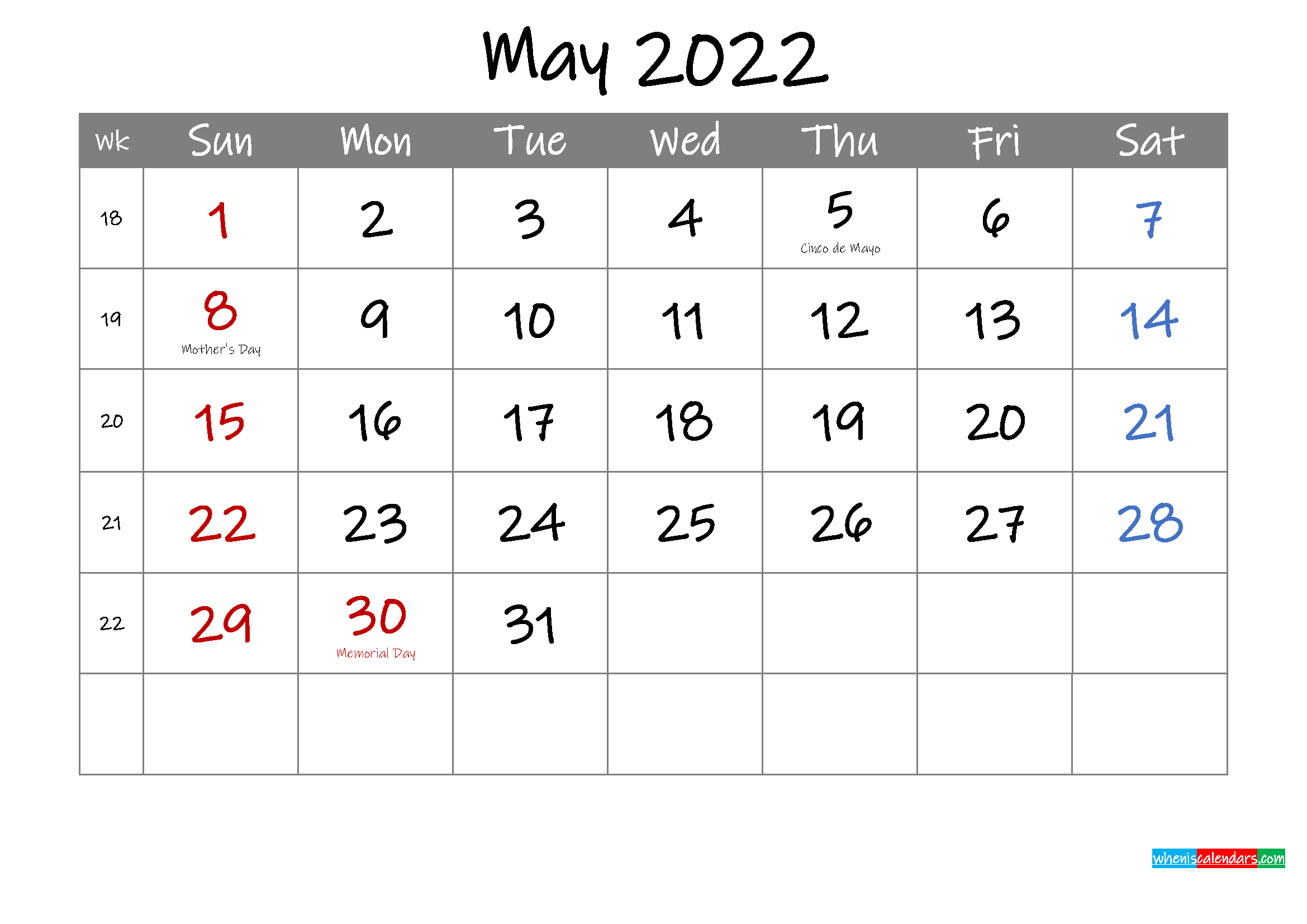 Editable May 2022 Calendar with Holidays - Template ...