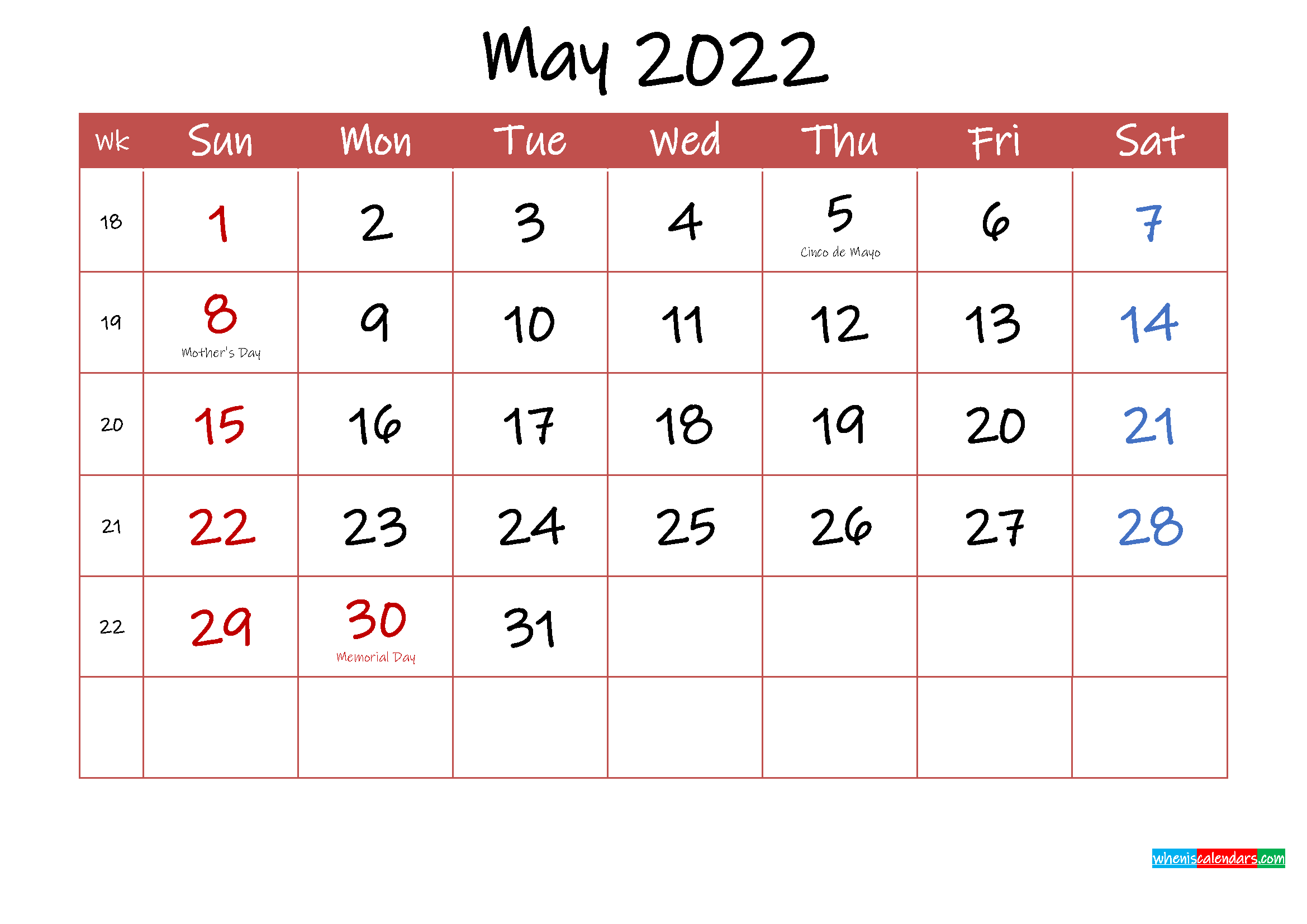 Printable May 2022 Calendar with Holidays - Template ...
