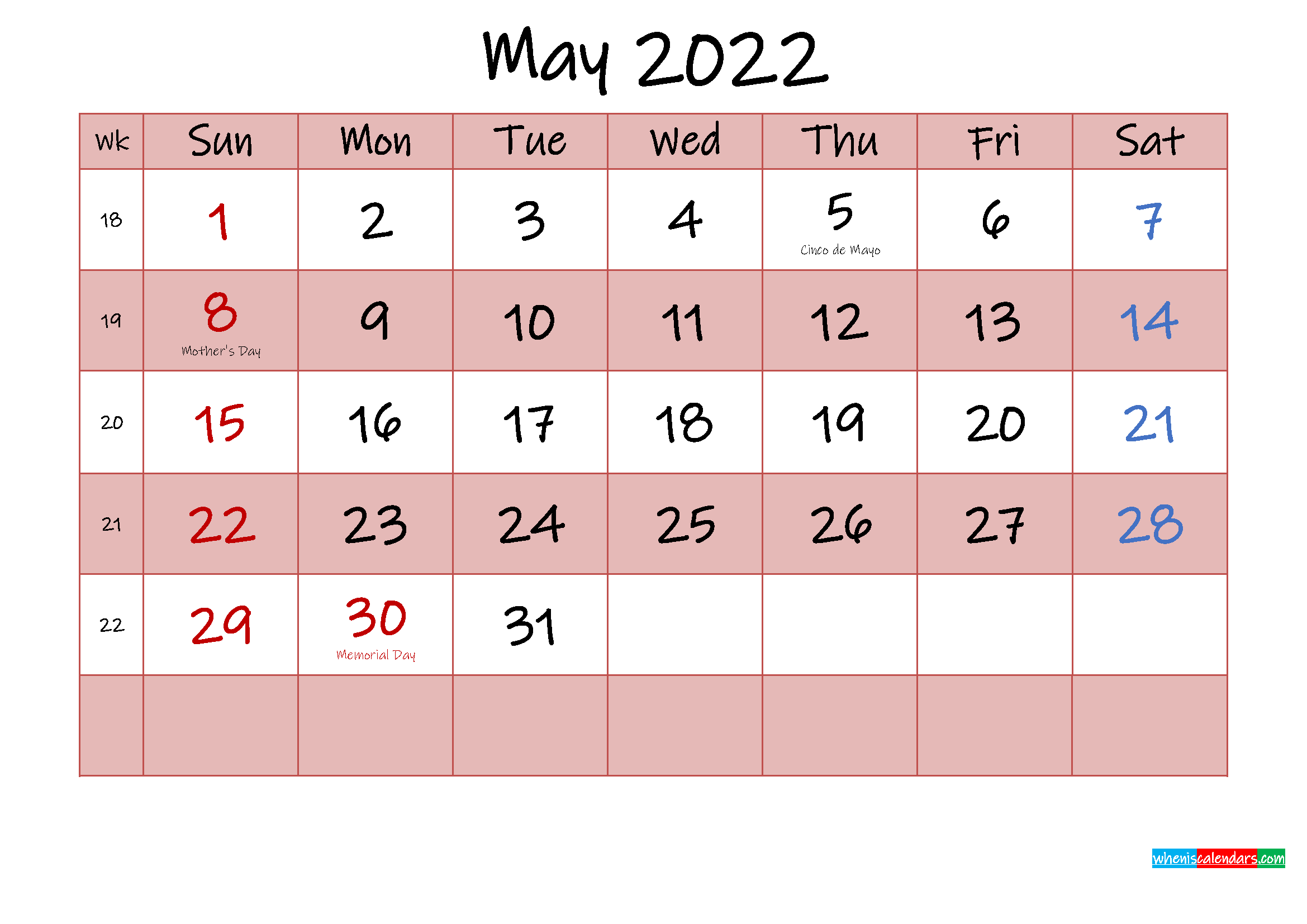 Free Printable Coloring Calendar 2022 May - Template No ...