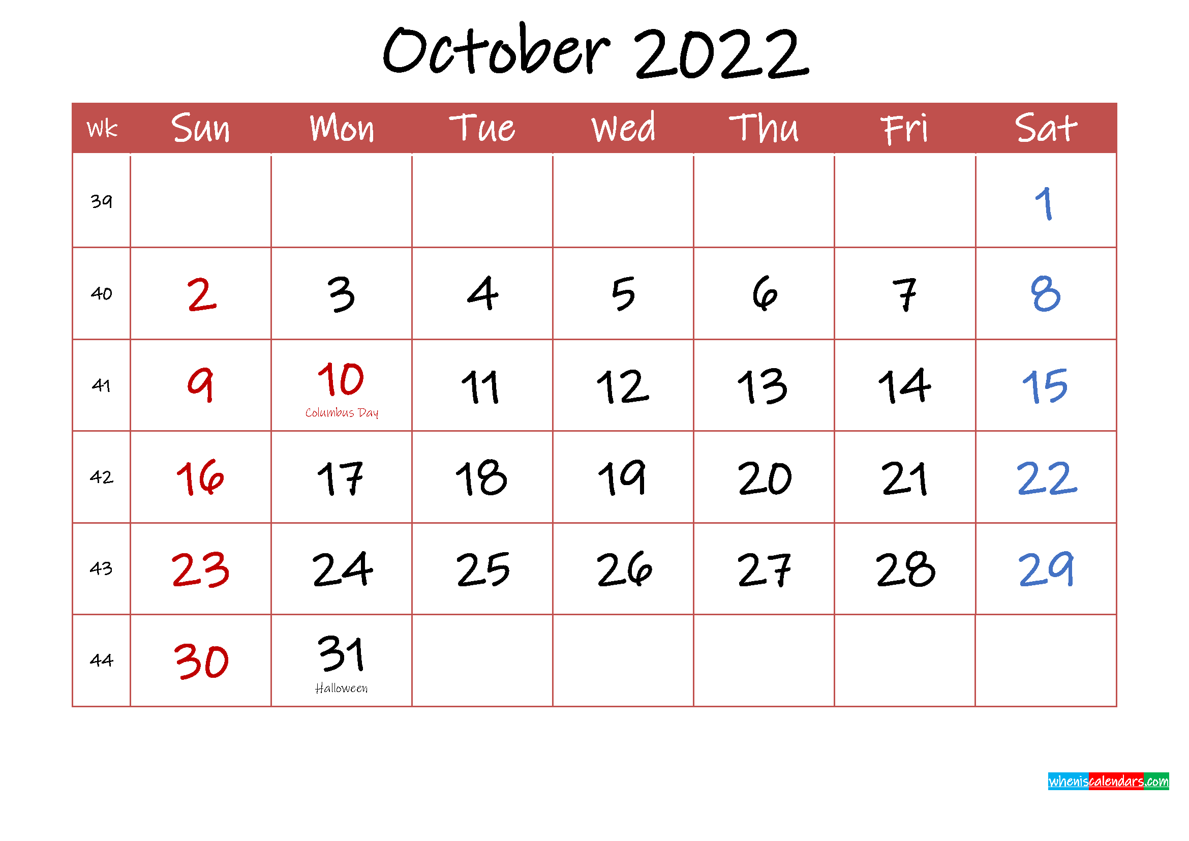 Printable October 2022 Calendar With Holidays - Template ...
