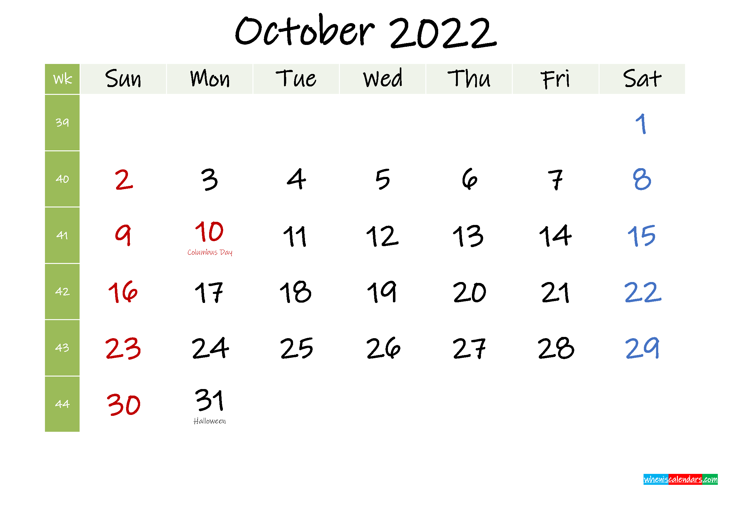 Free October 2022 Printable Calendar With Holidays ...