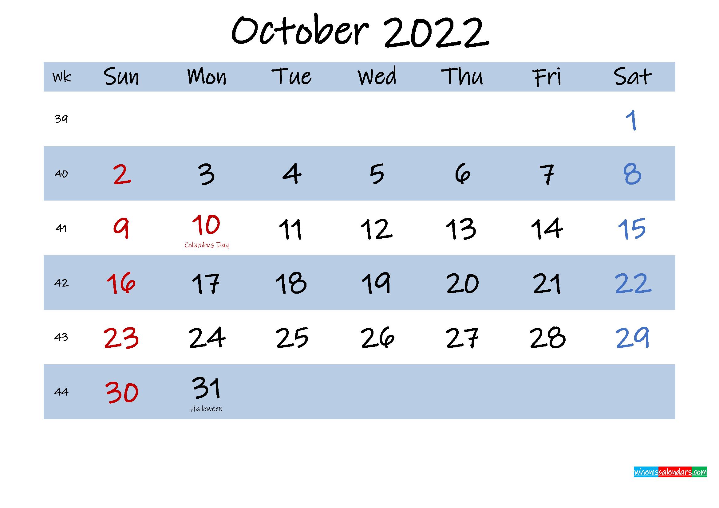 Printable October 2022 Calendar Word - Template No ...