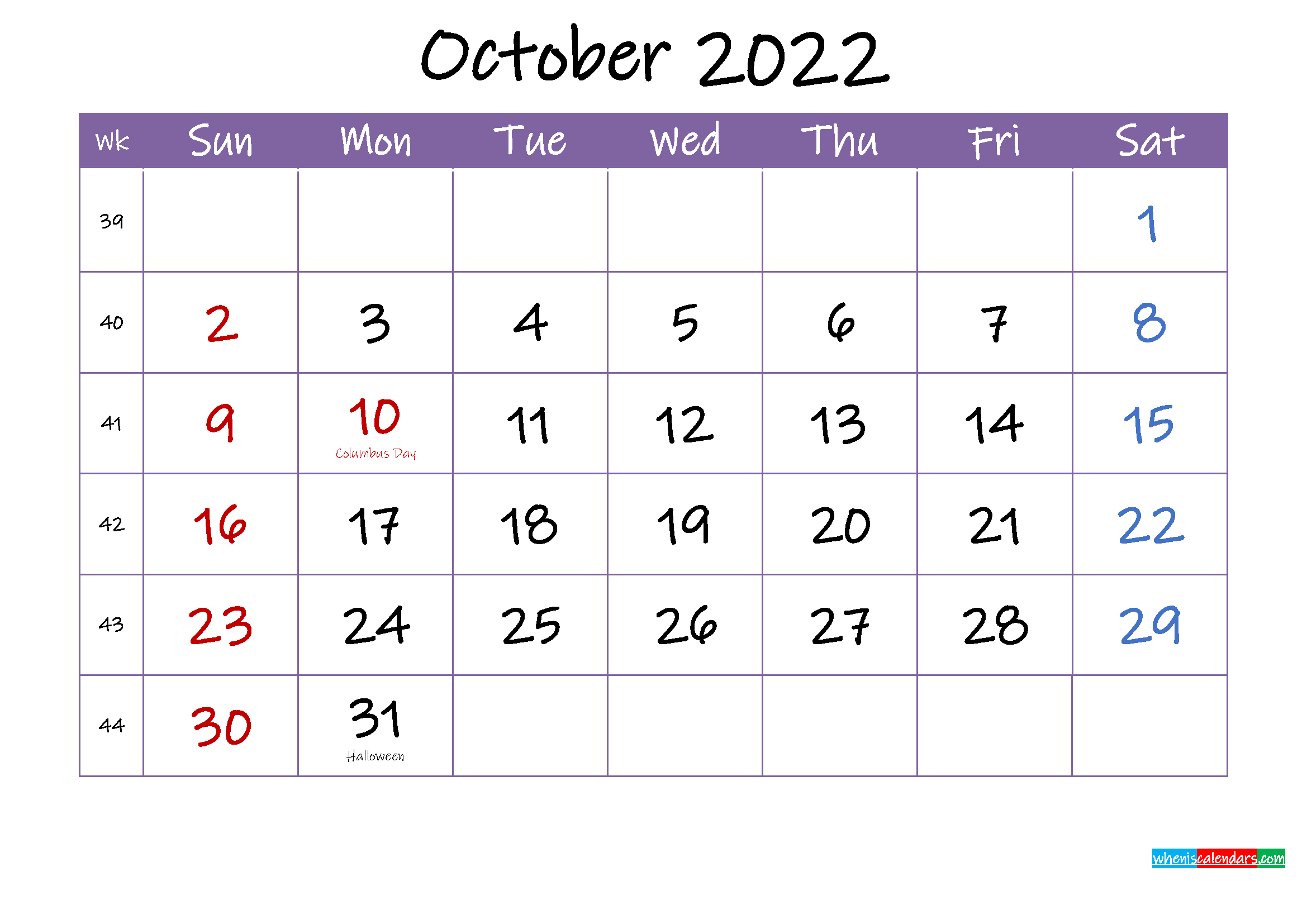 October 2022 Calendar with Holidays Printable - Template ...