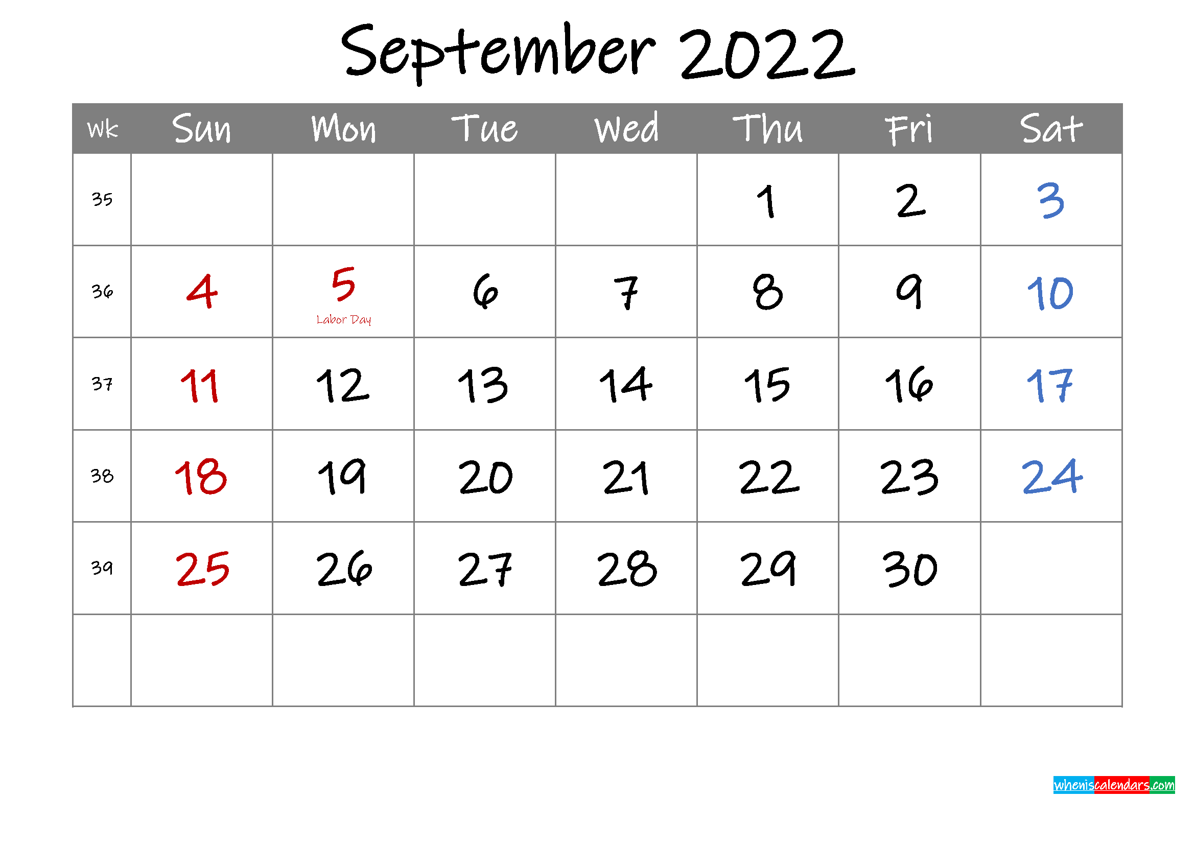 Editable September 2022 Calendar with Holidays - Template ...