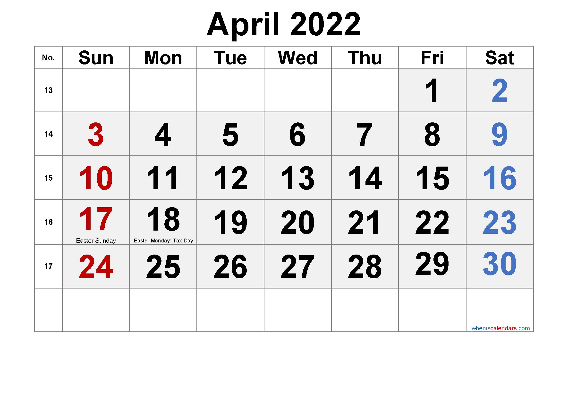 Free Printable April 2022 Calendar (PDF and PNG) - Free ...
