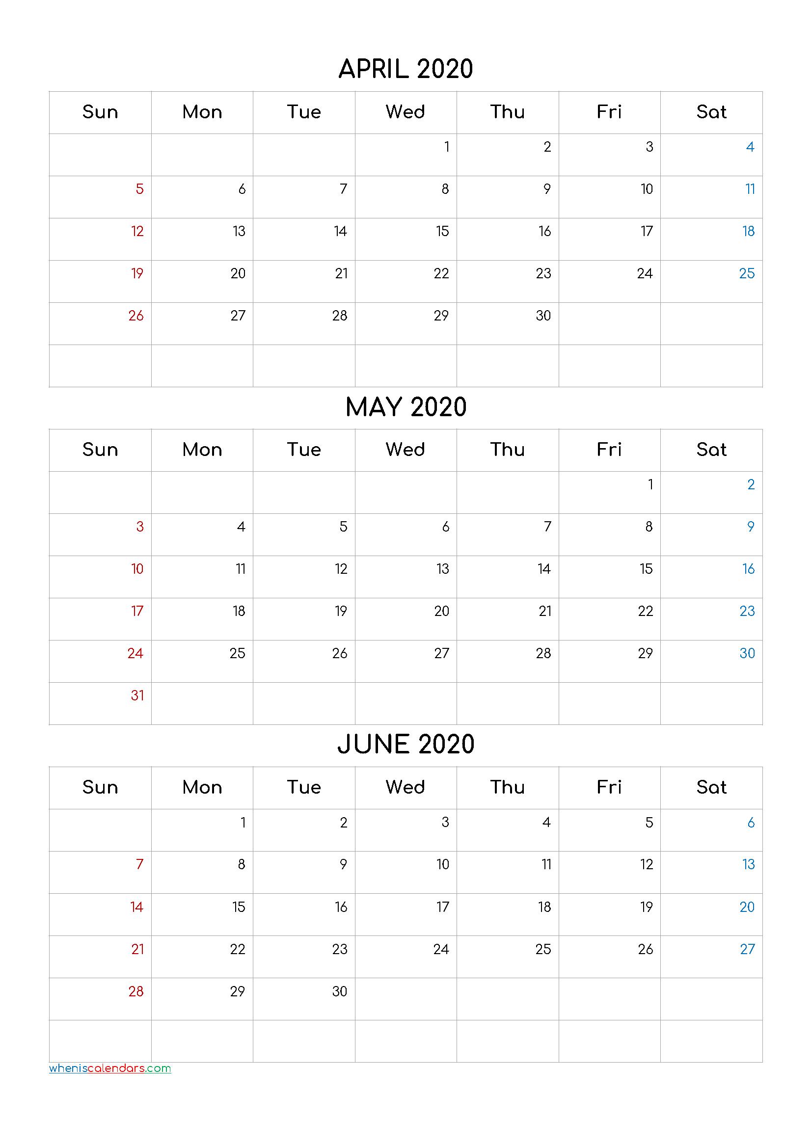 Three Month Calendar View April May June 2021 | Calendar 2021