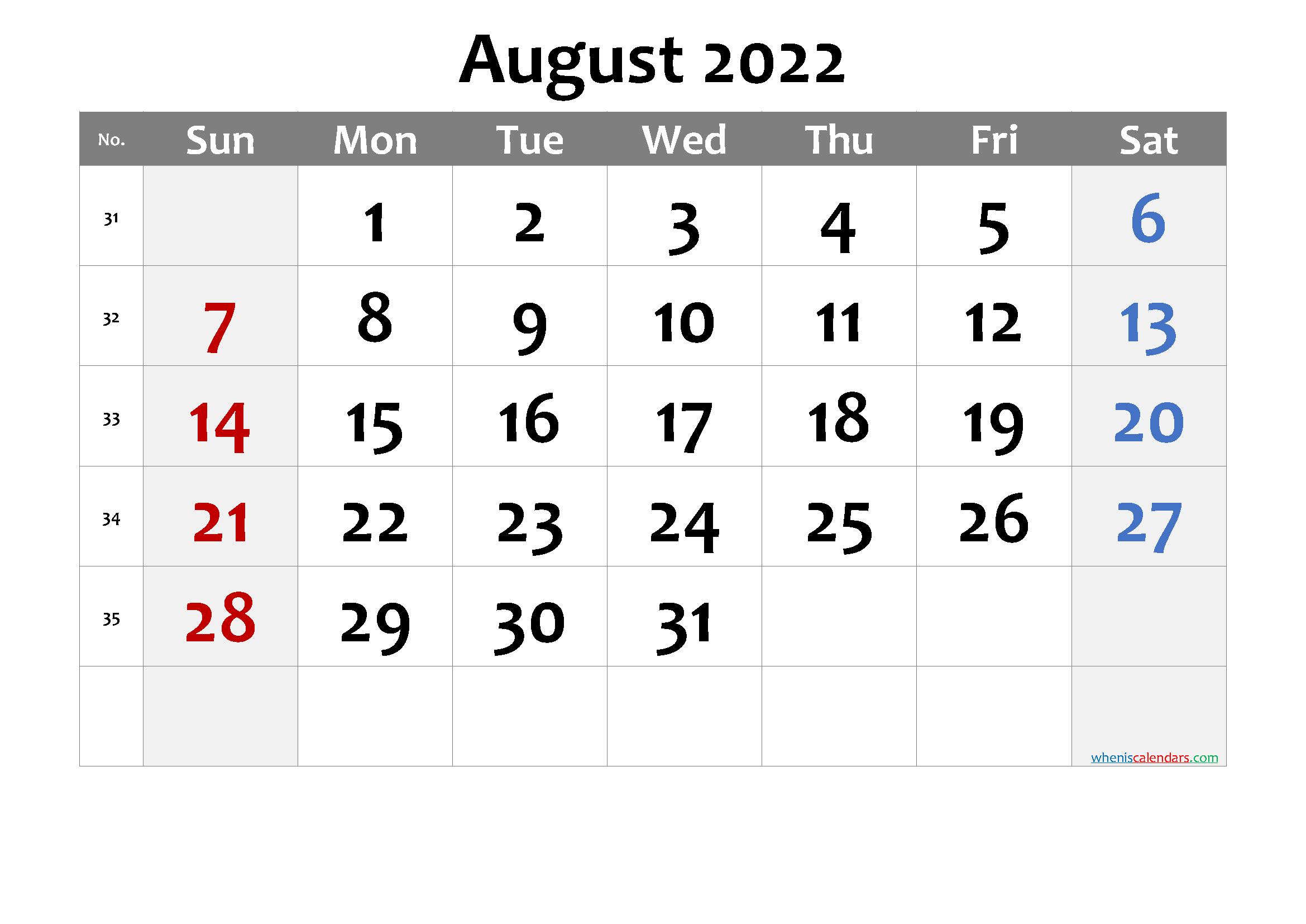 Printable AUGUST 2022 Calendar with Holidays - 6 Templates ...
