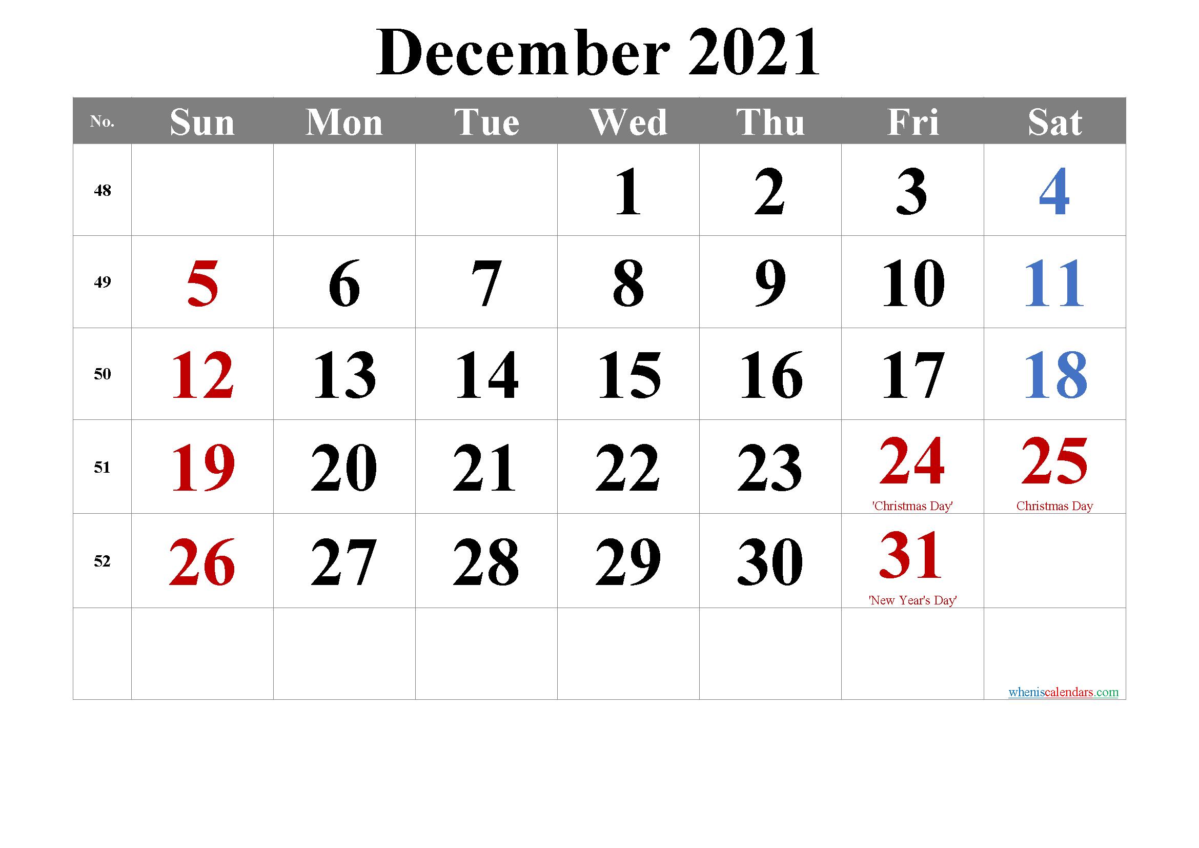 December 2021 Calendar with Holidays Printable-Template No