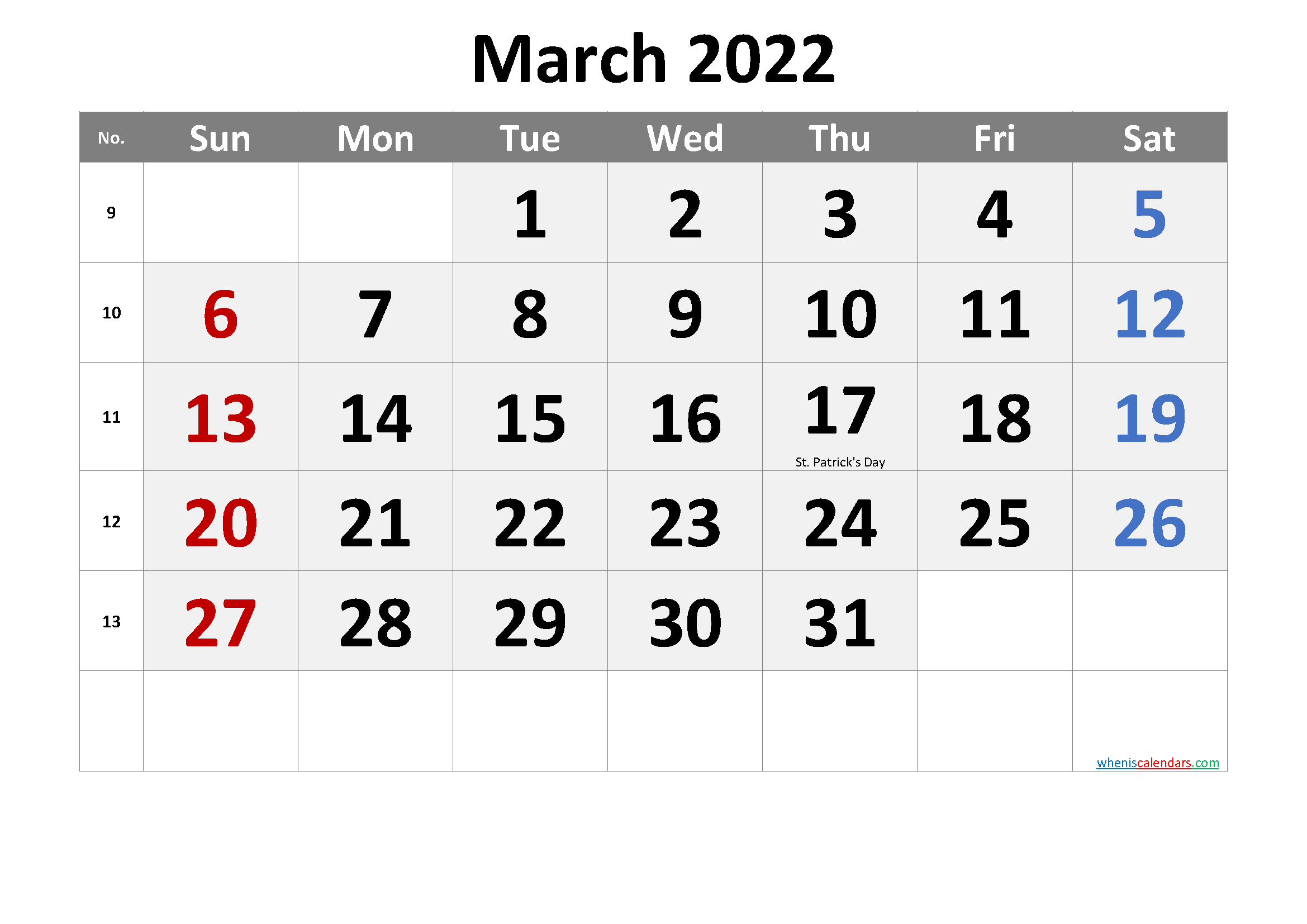 March 2022 Printable Calendar with Holidays - Free ...