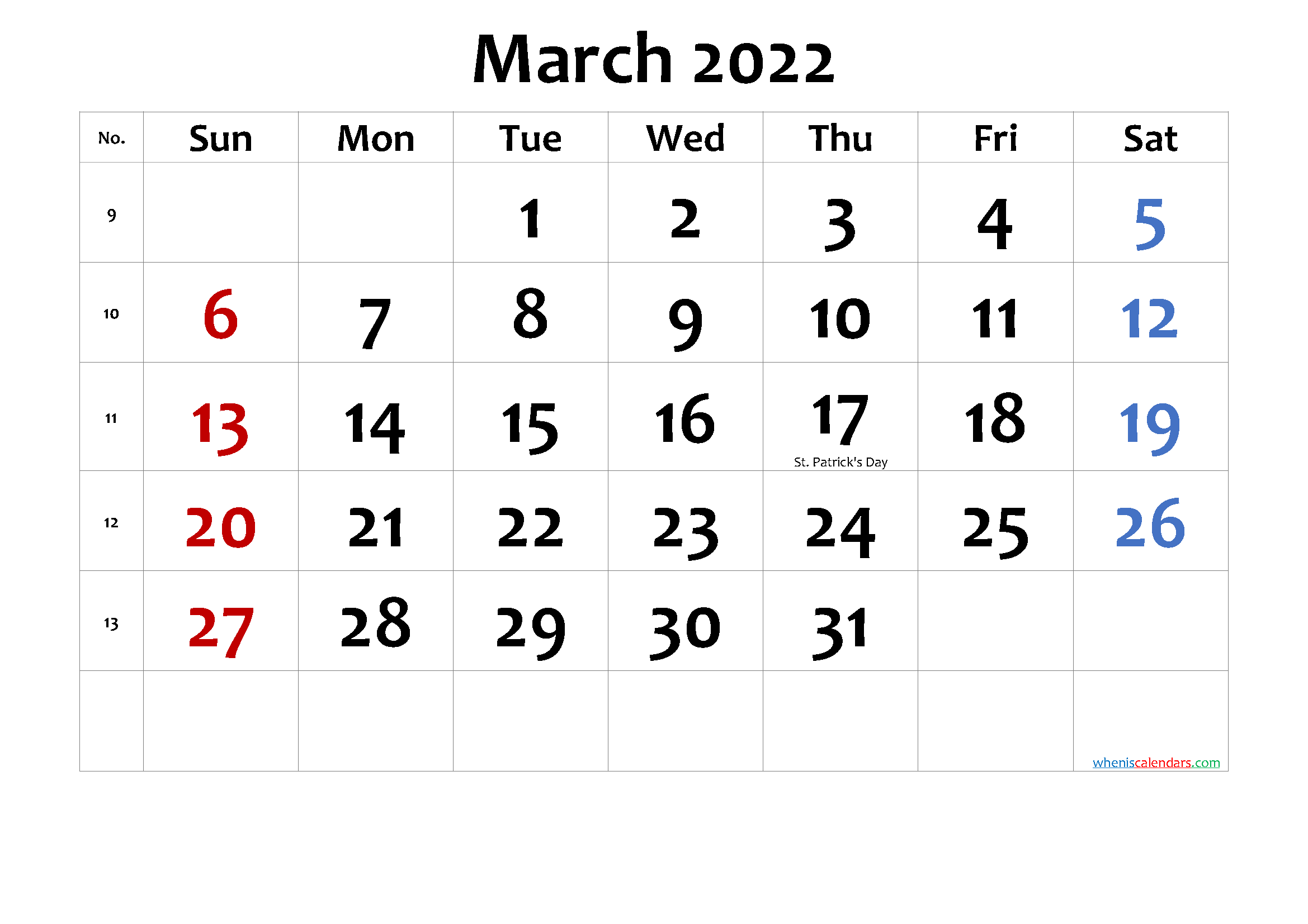 Printable March 2022 Calendar with Holidays-Template No