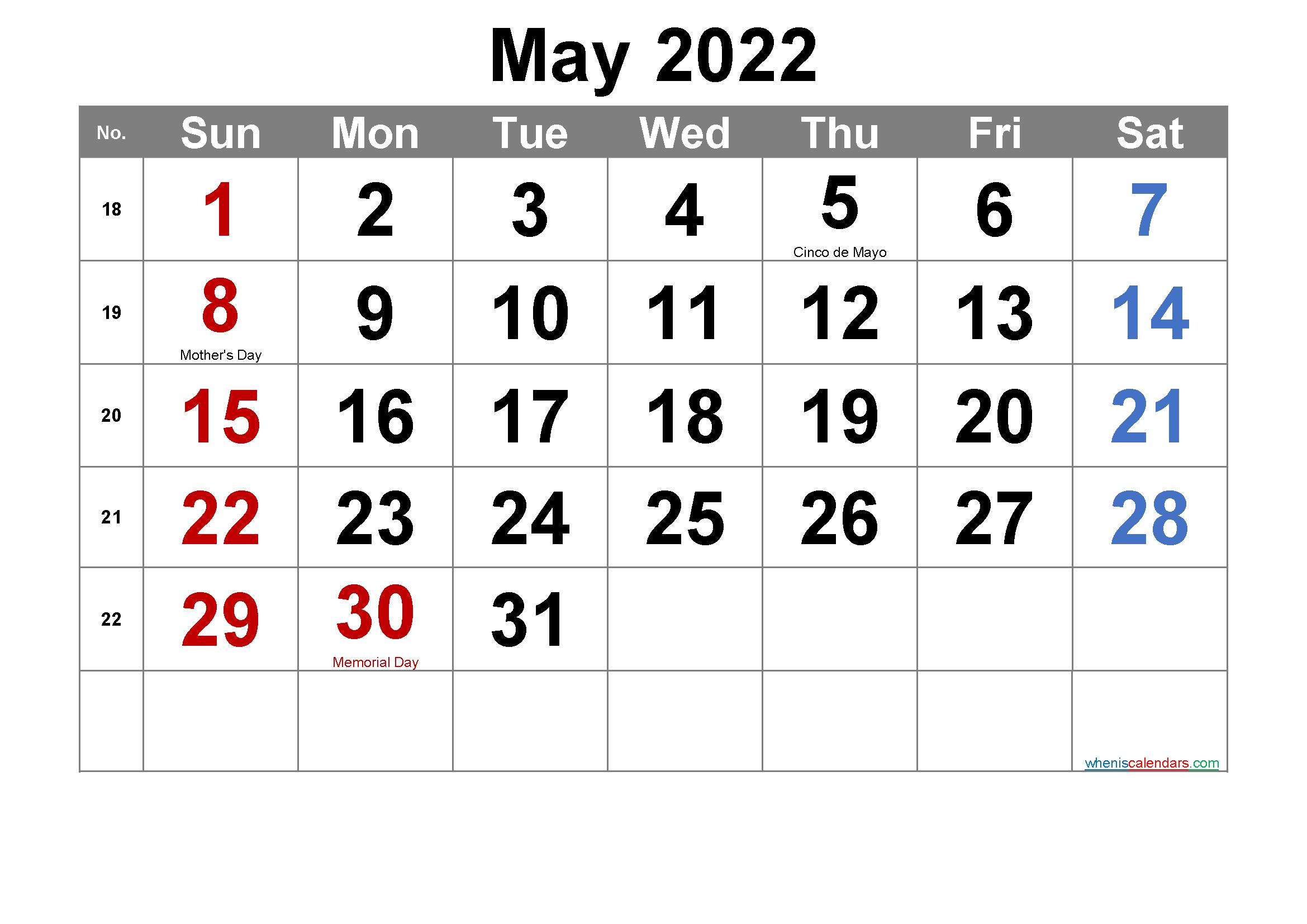 Editable May 2022 Calendar with Holidays-Template No ...