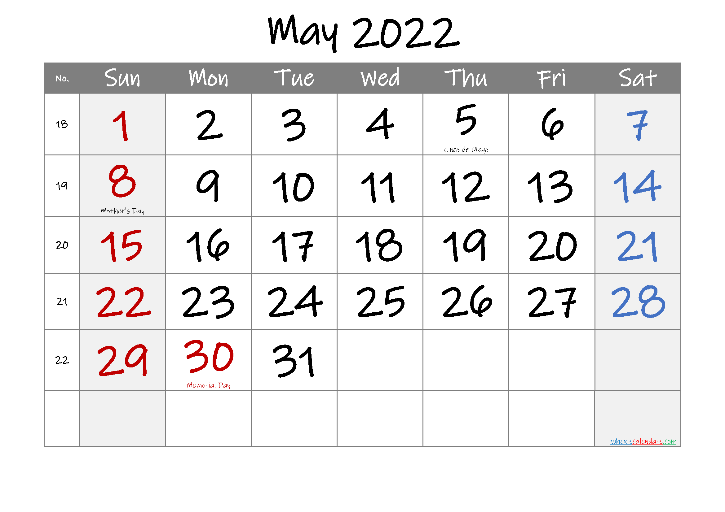 Here we have listed all the free printable 2022 monthly and yearly 2022 blank calendar templates as the editable word document. May 2022 Free Printable Calendar with Holidays-Template No ...