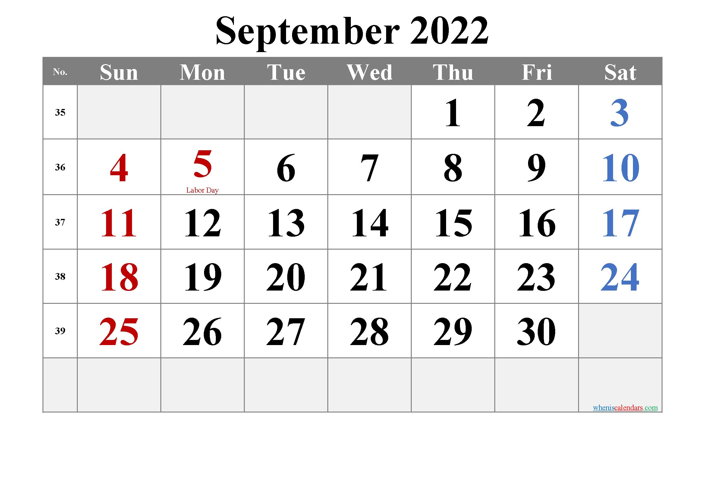 Free Printable September 2022 Calendar with Holidays ...