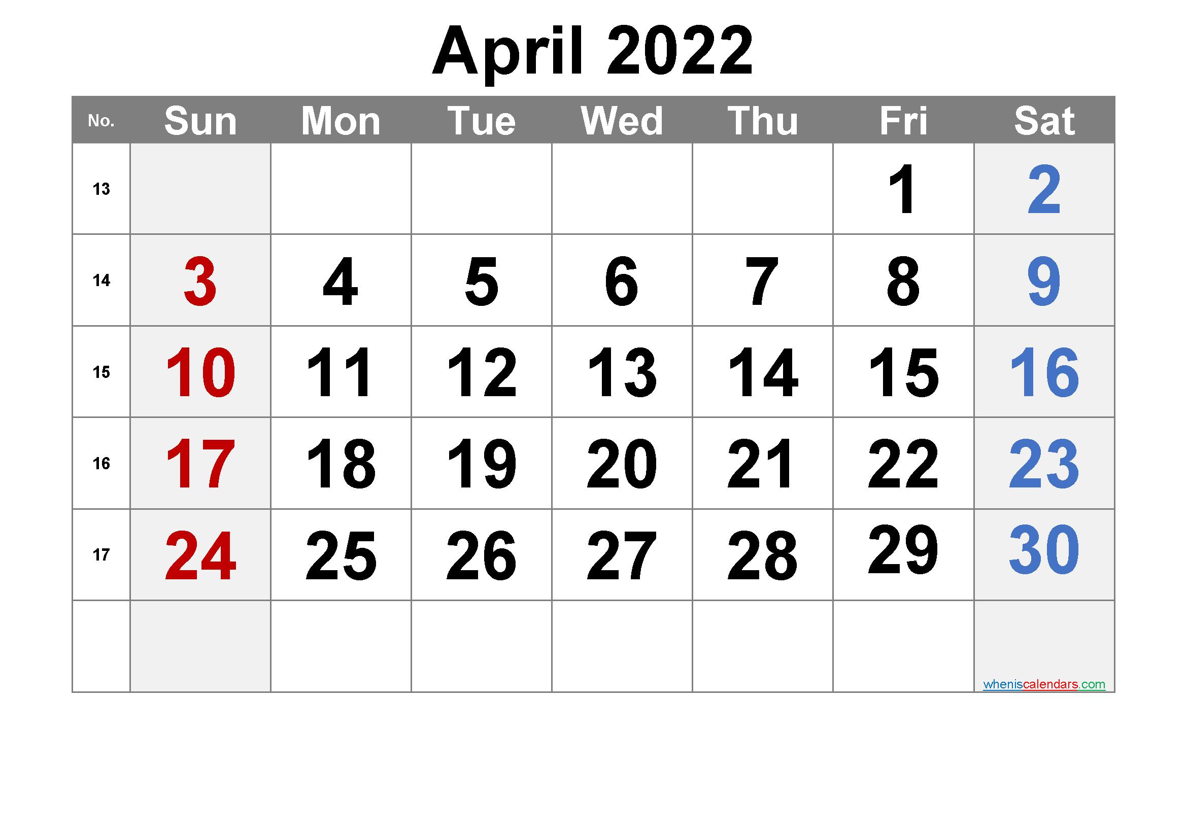 Free April 2022 Calendar with Week Numbers - Free ...