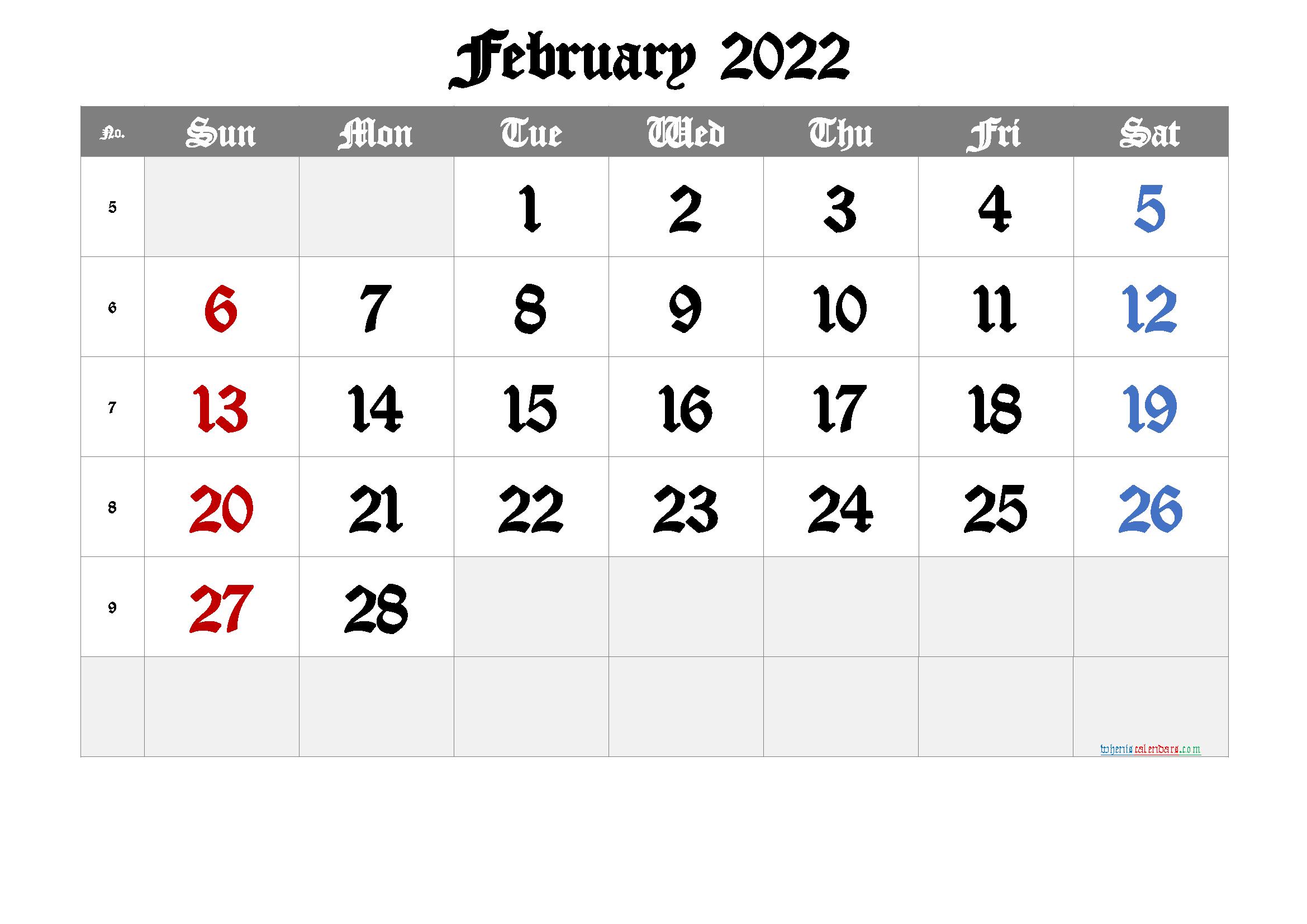 Free Printable Calendar 2022 February | Free Printable ...