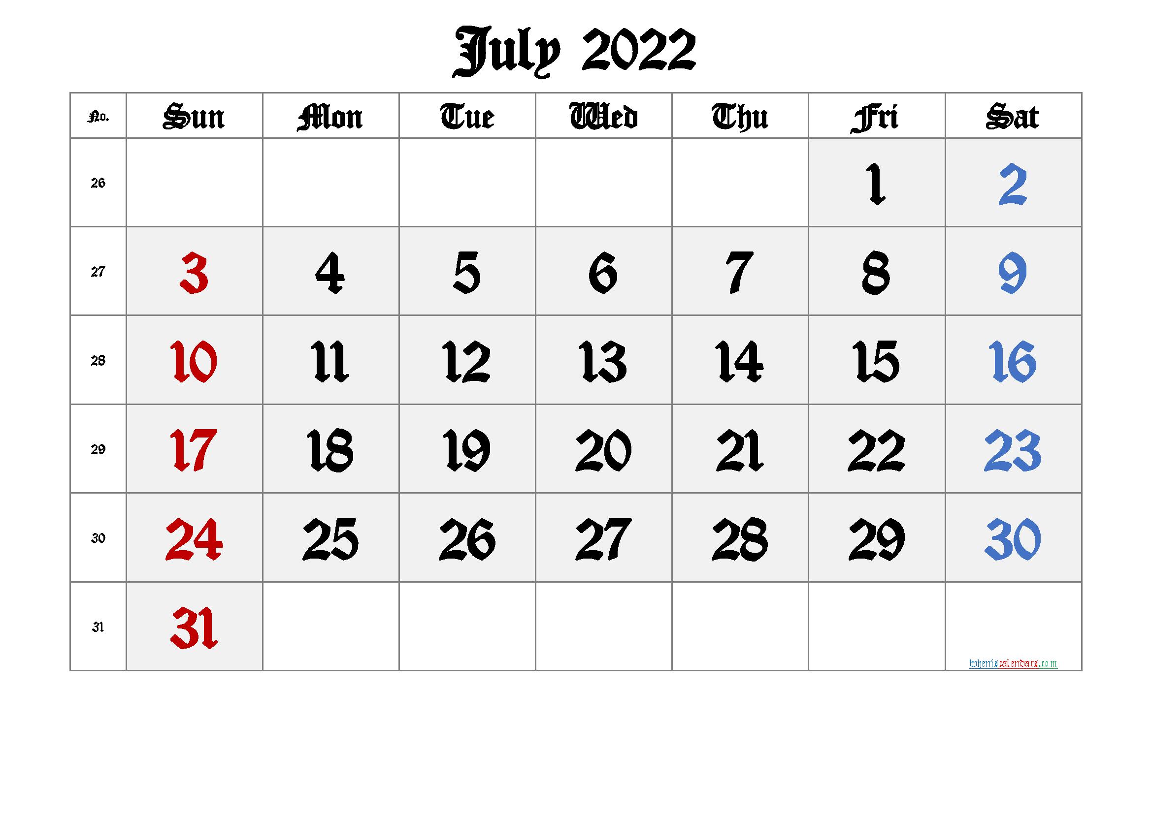 Free Printable Calendar 2022 July Free Premium