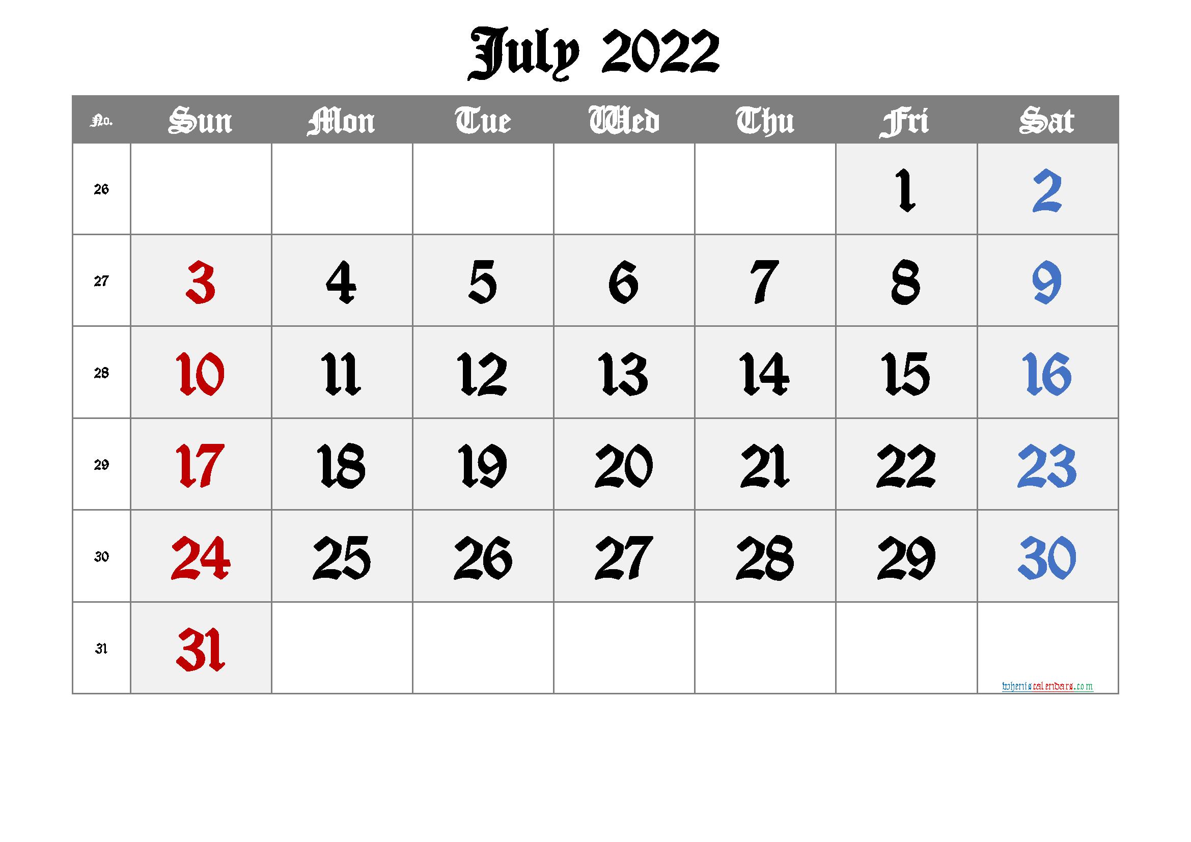 Free Printable Calendar 2022 July Free Premium - Free ...