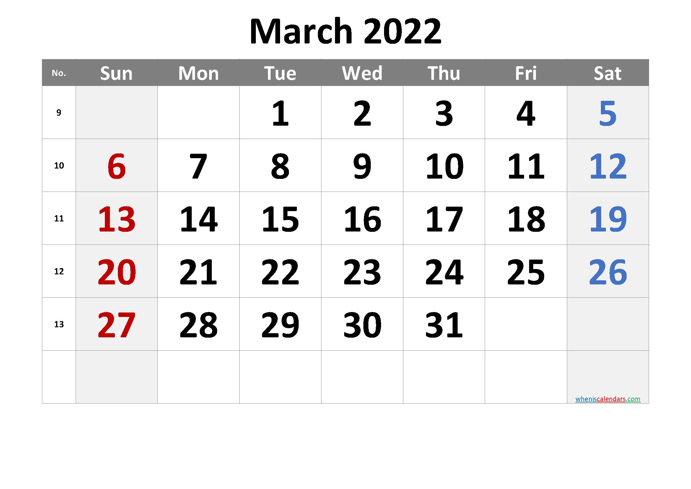 March 2022 Printable Calendar Free Premium
