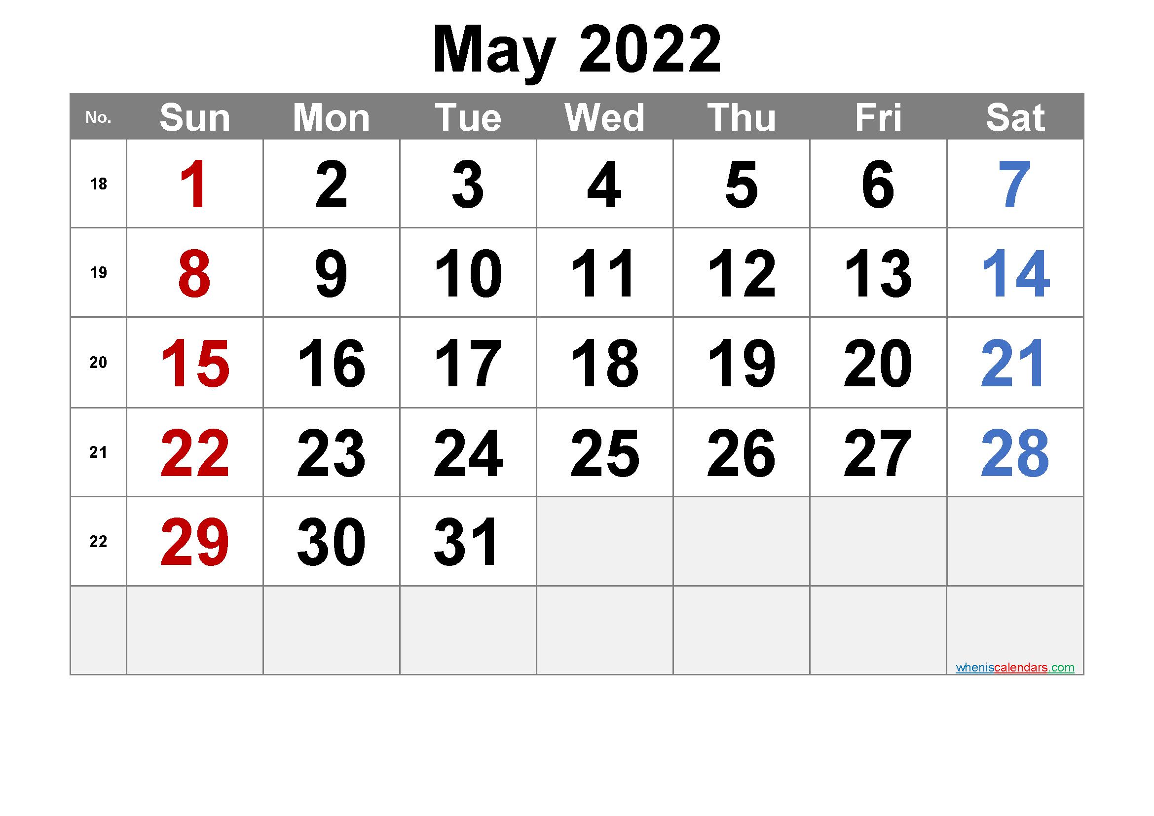 Free Printable May 2022 Calendar with Week Numbers | Free ...