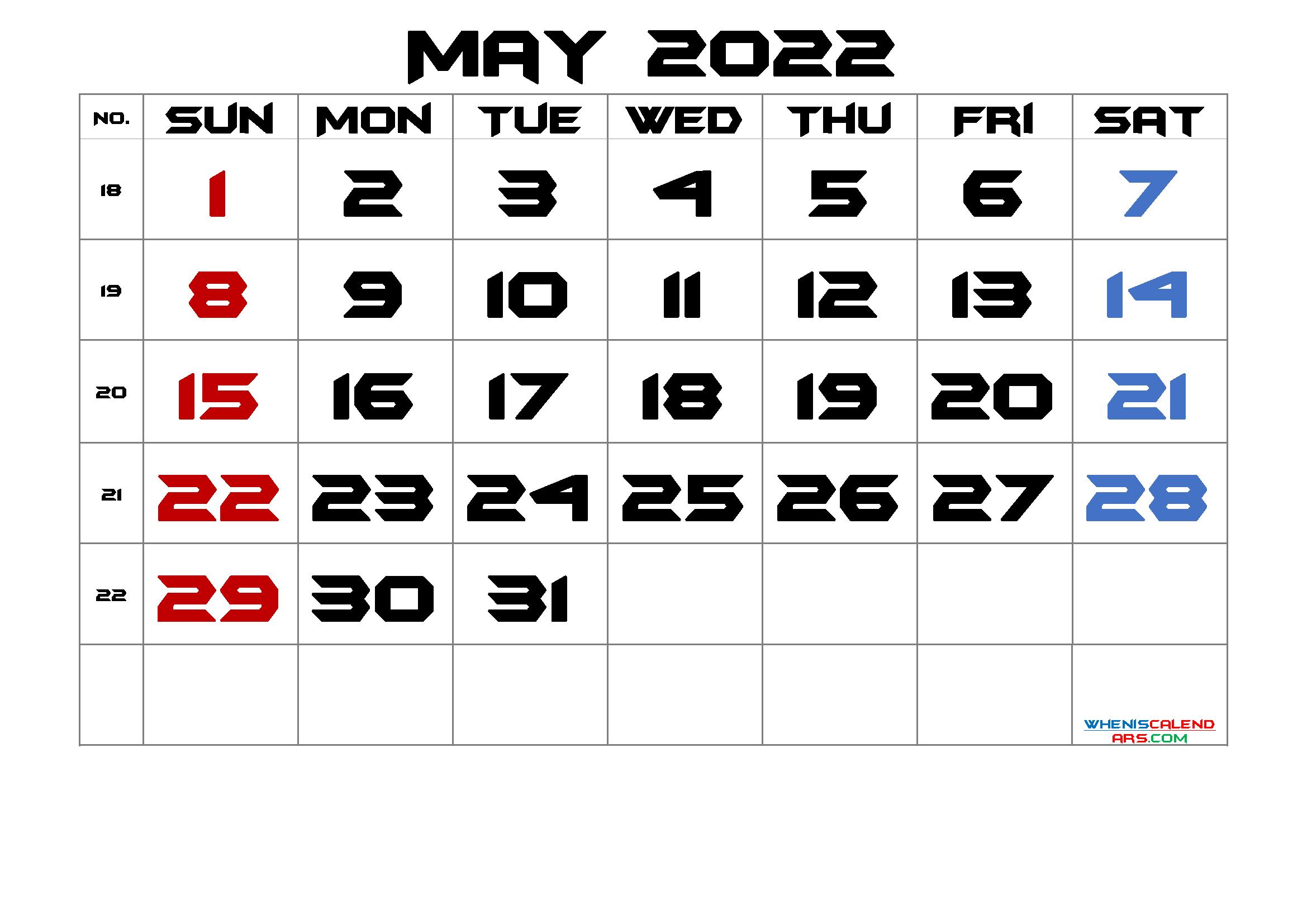 Free Printable May 2022 Calendar (Premium)