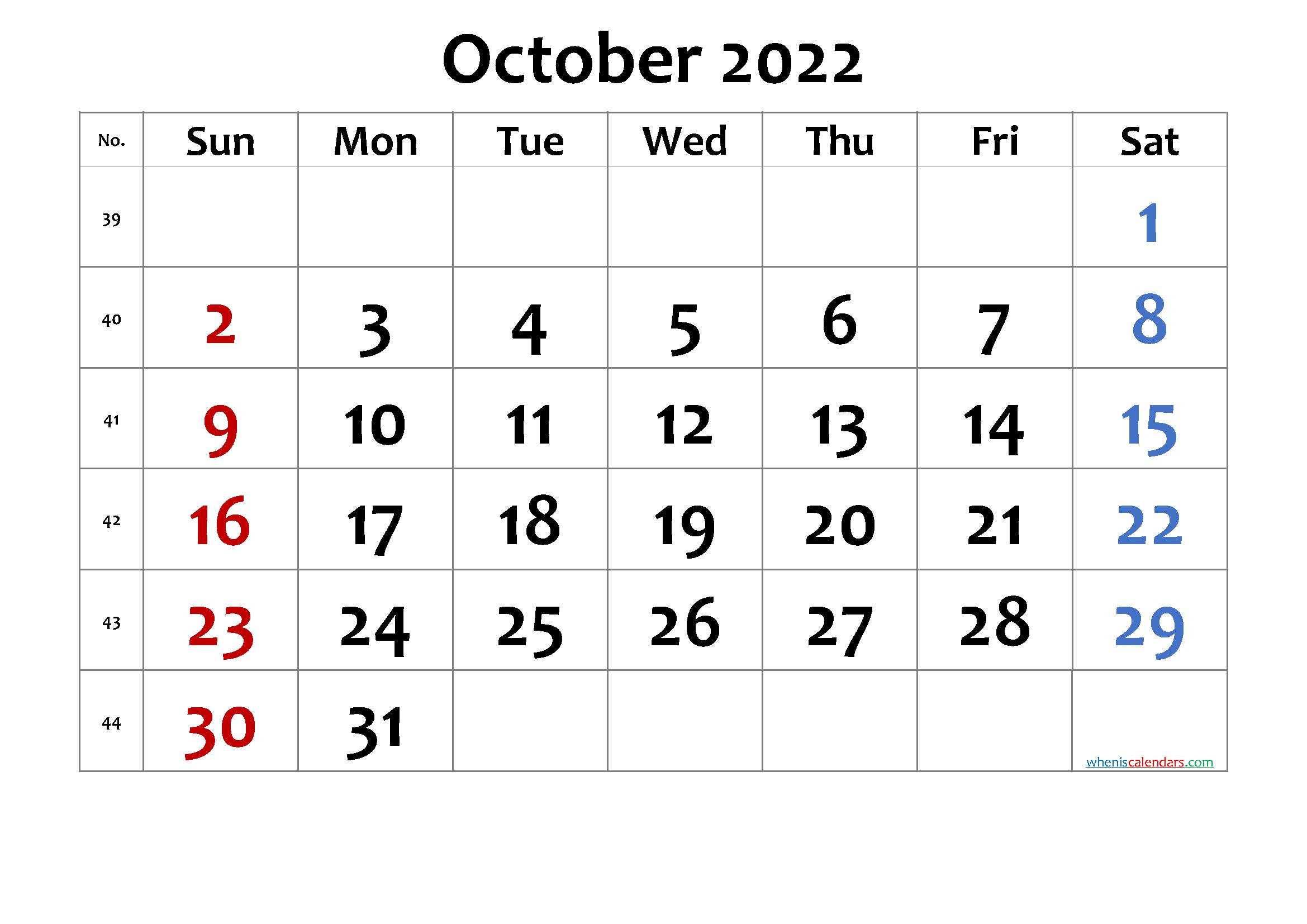 Printable Calendar 2022 October - Free Printable 2021 ...
