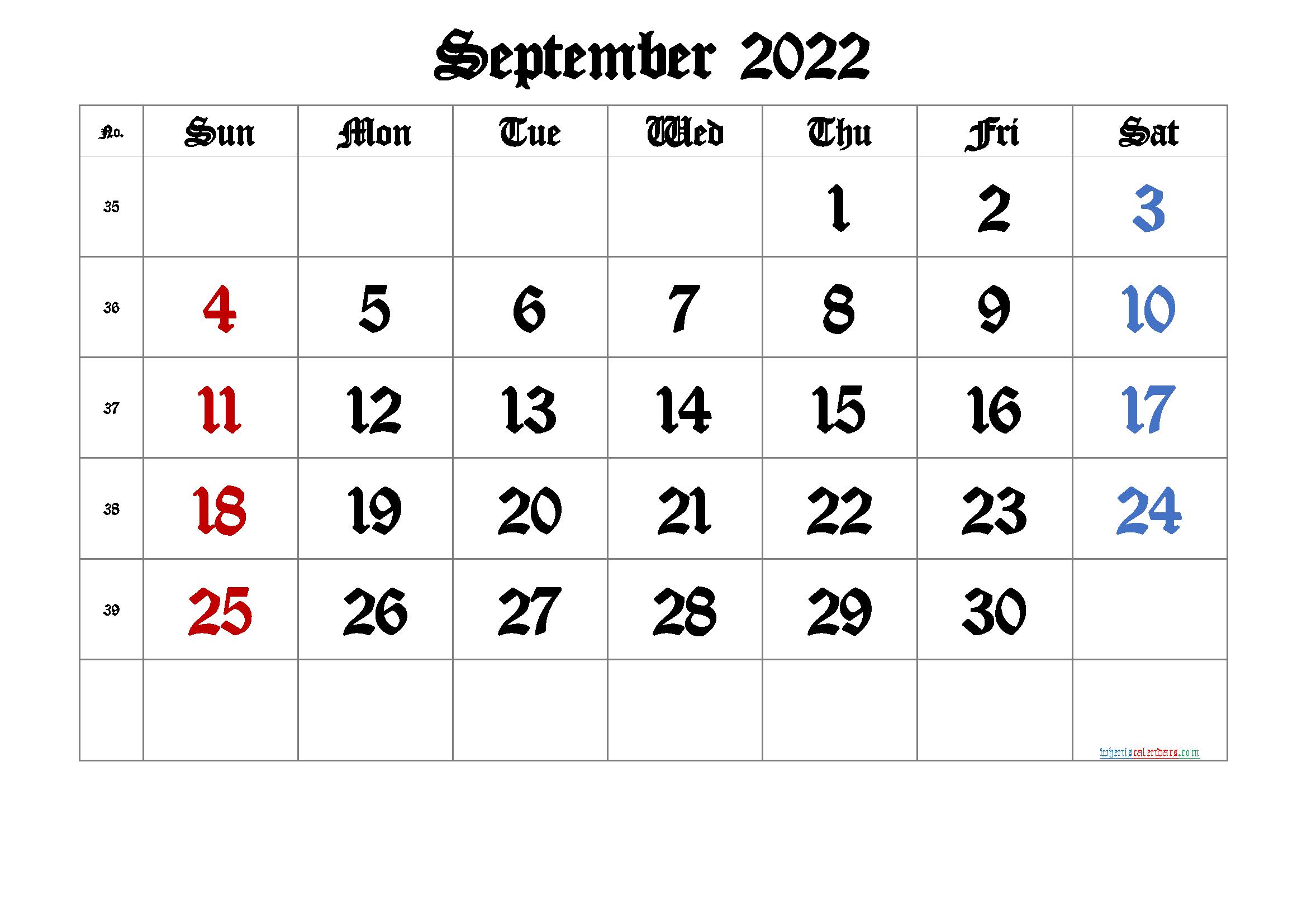 Free Printable 2022 September Calendar | Free Printable ...