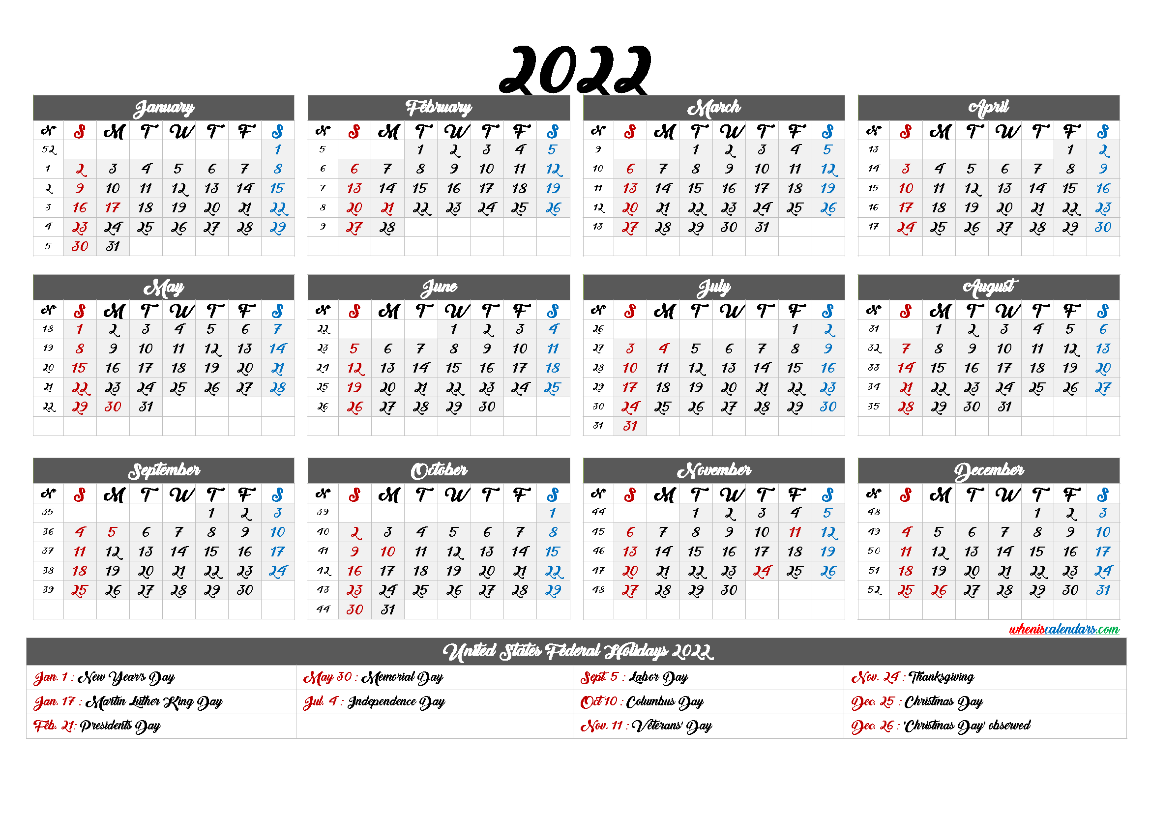 Printable Calendar 2022 with Holidays - 6 Templates