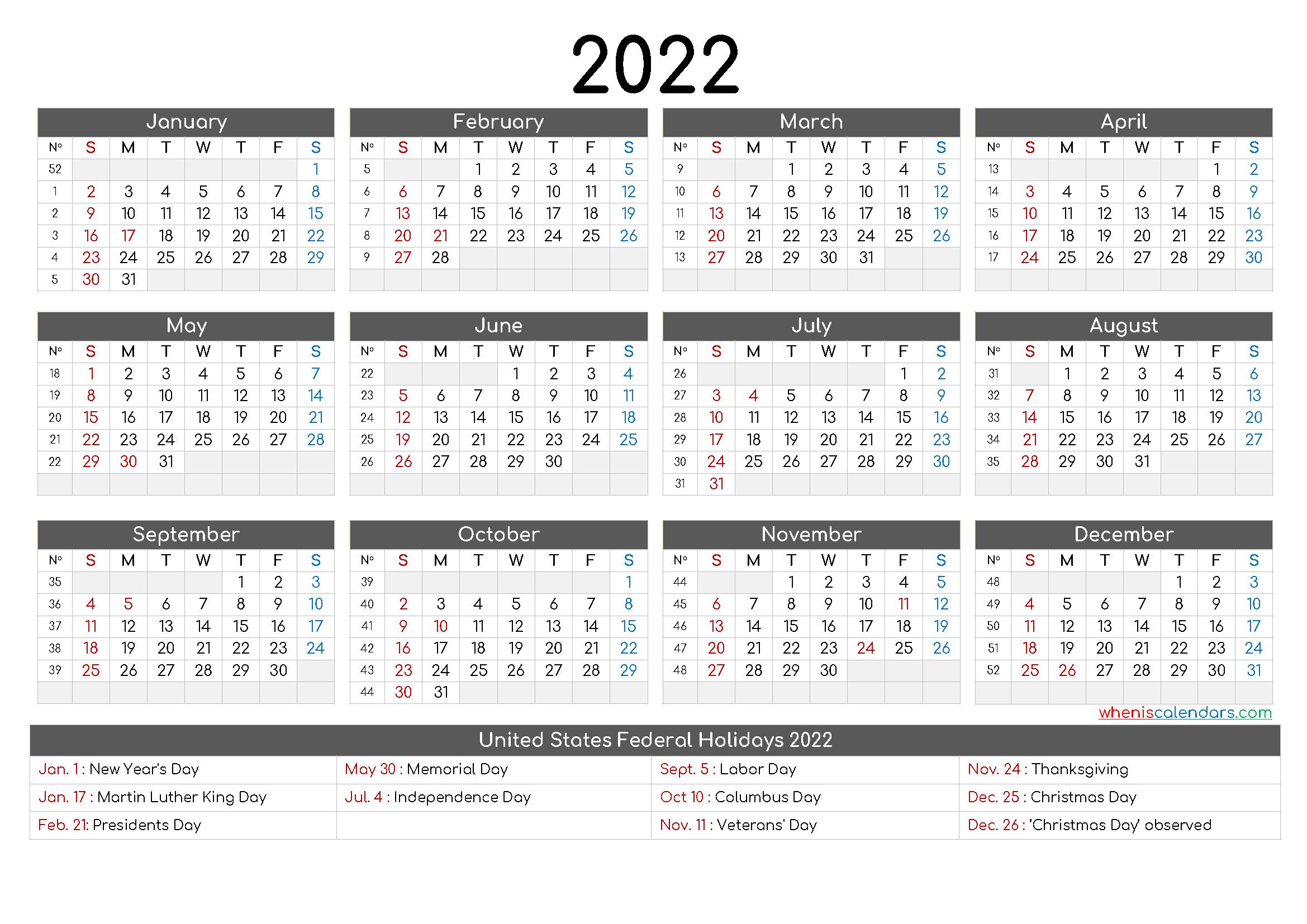 Printable Calendar 2022 pdf - 9 Templates | Free Printable ...